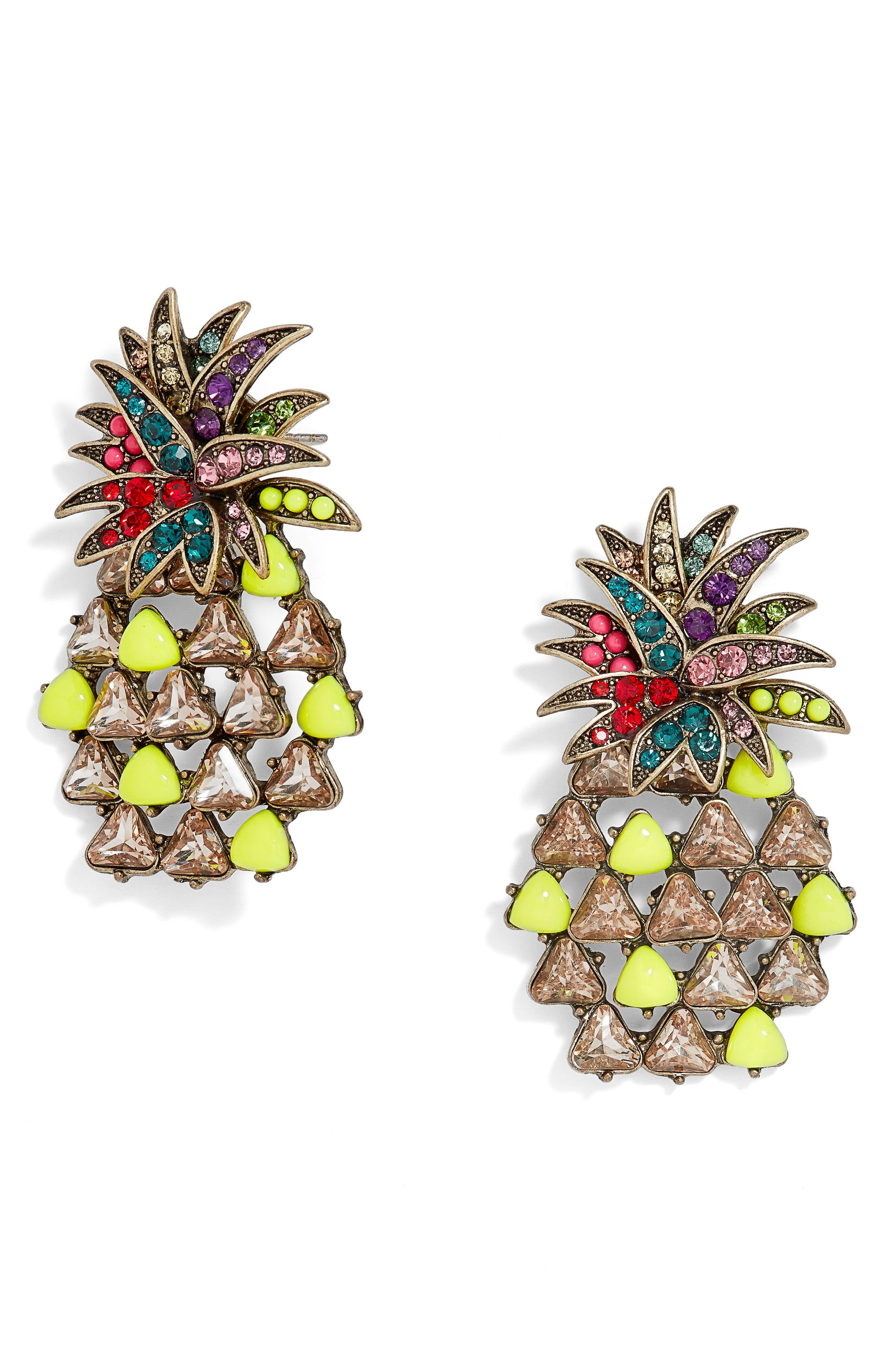 Pineapple Pop Large Stone Stud Earrings,                             Main thumbnail 1, color,                             Neon Yellow