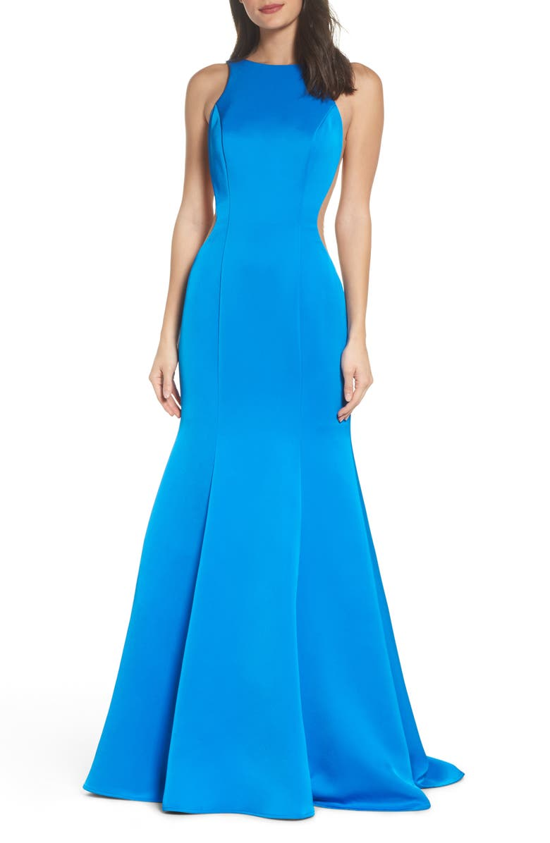 Side Illusion Satin Mermaid Gown