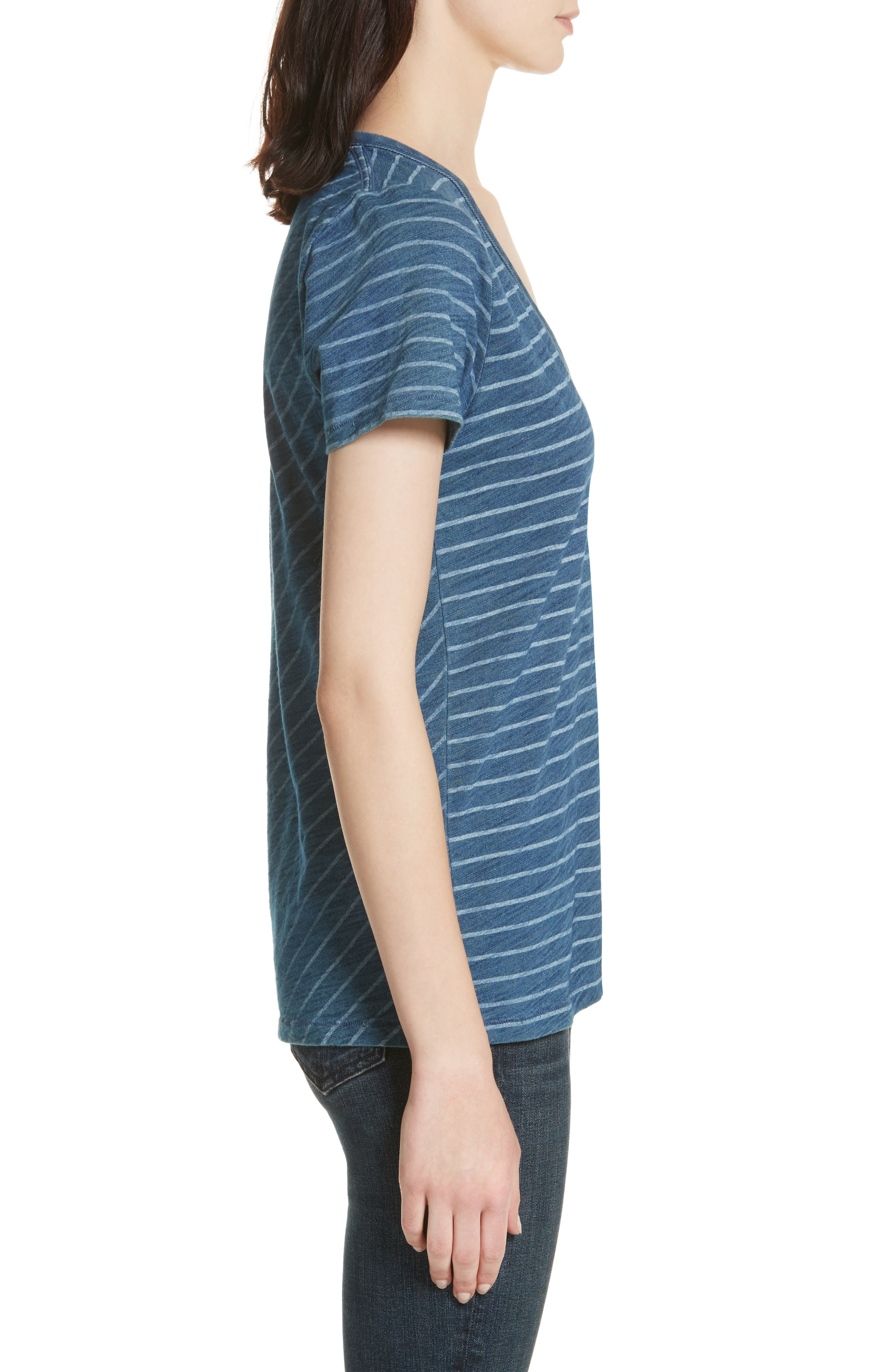 The Vee Indigo Bleach Stripe Tee,                             Alternate thumbnail 3, color,                             Indigo Stripe