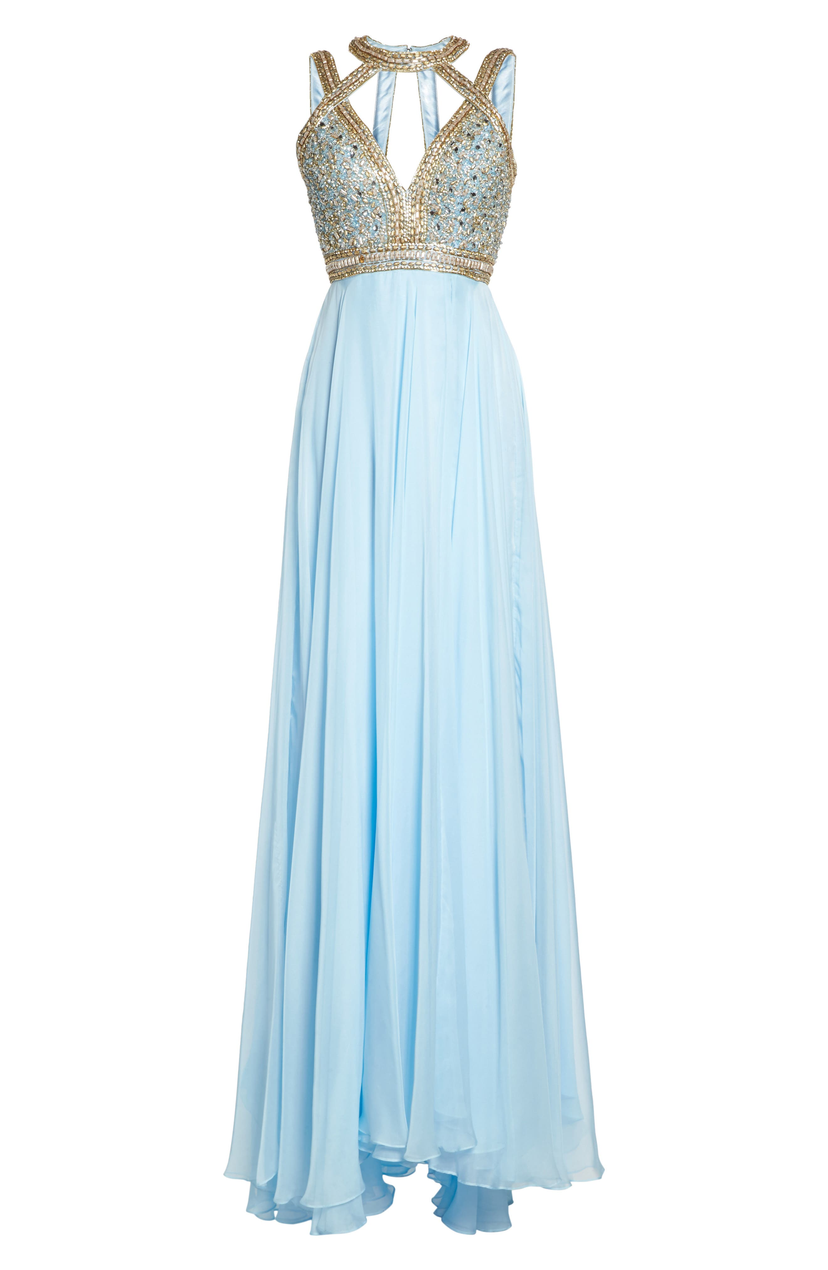 Beaded Cutout Bodice Gown,                             Alternate thumbnail 6, color,                             Ice Blue