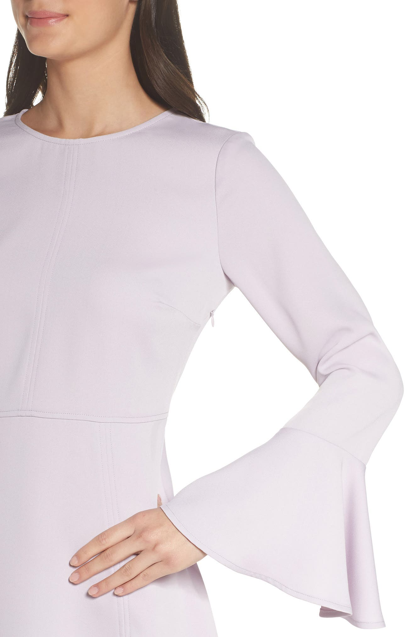 Bell Sleeve Fit & Flare Dress,                             Alternate thumbnail 4, color,                             Purple Thistle