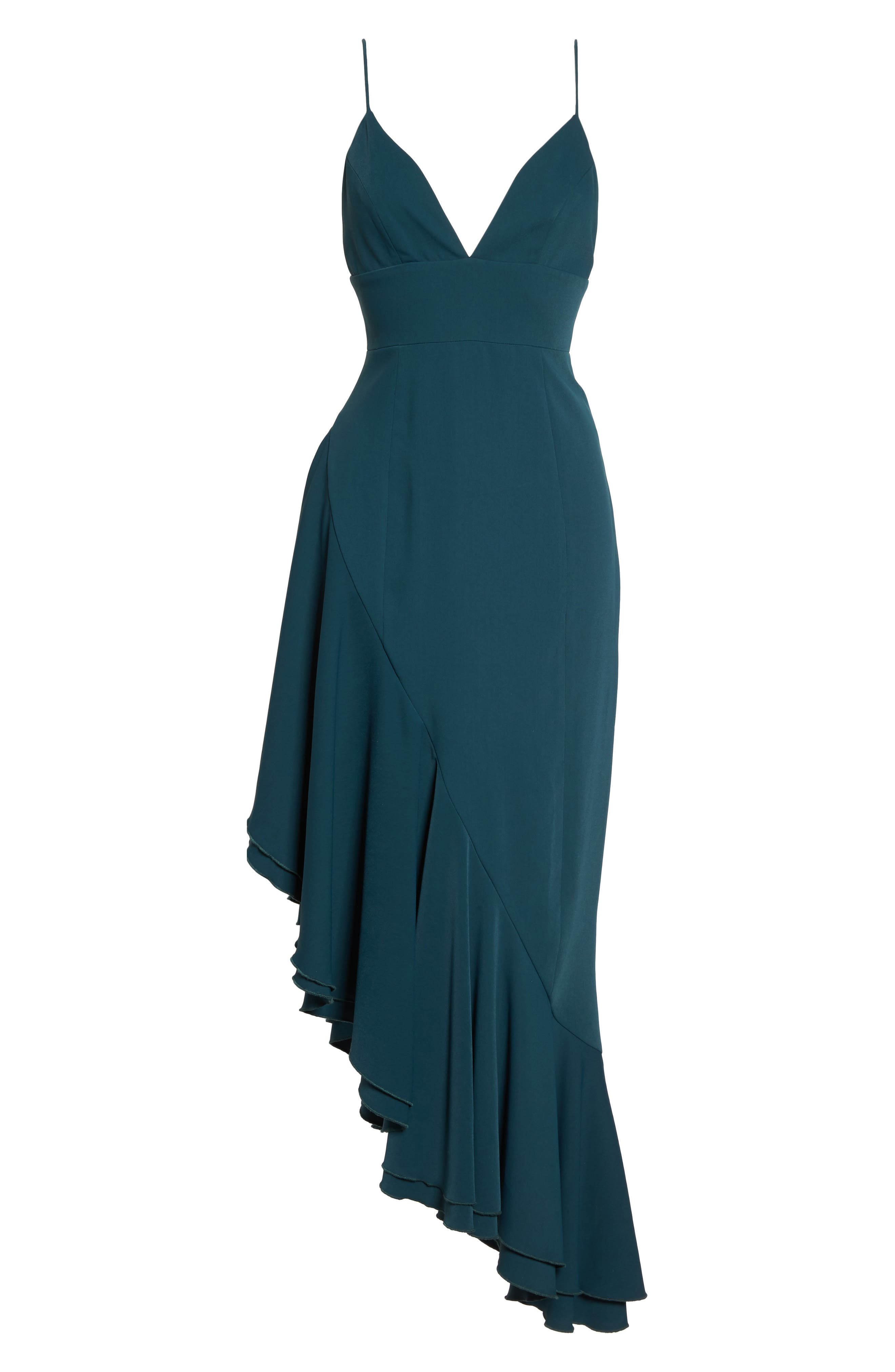 Temptation Asymmetrical Gown,                             Alternate thumbnail 7, color,                             Emerald