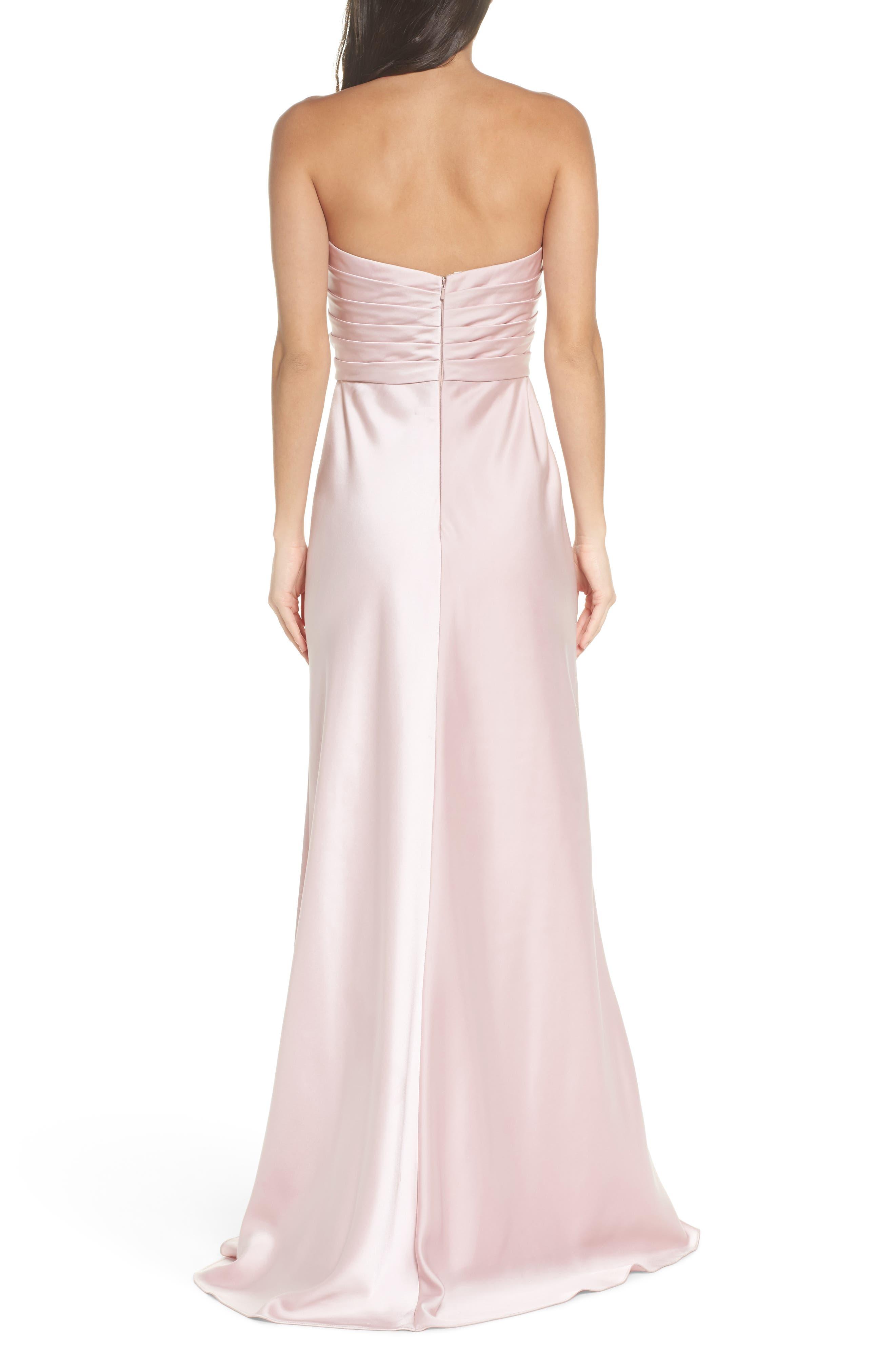 Gathered Strapless Satin Gown,                             Alternate thumbnail 2, color,                             Blush
