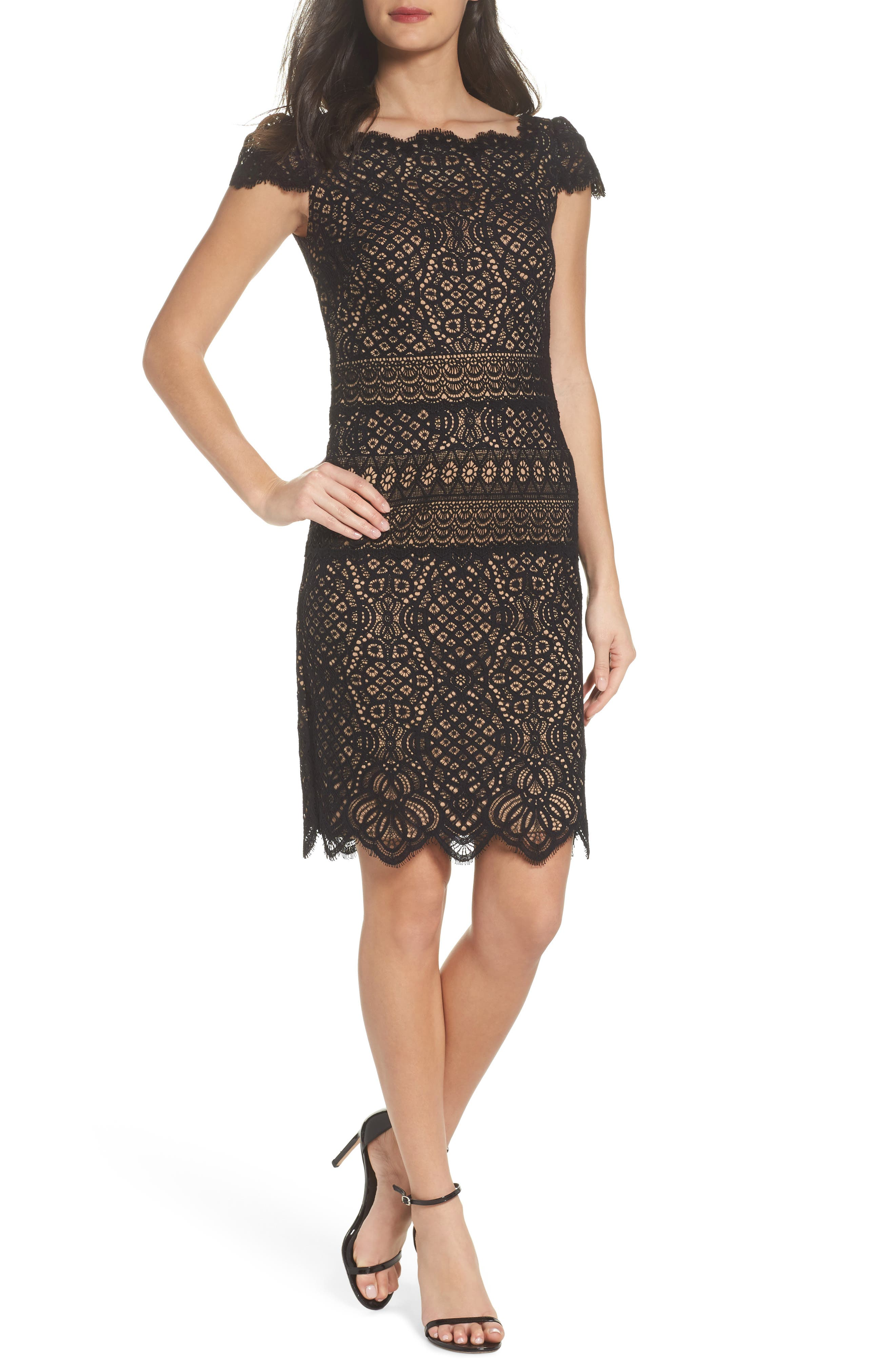 Lace Cap Sleeve Dress,                             Main thumbnail 1, color,                             Black / Nude