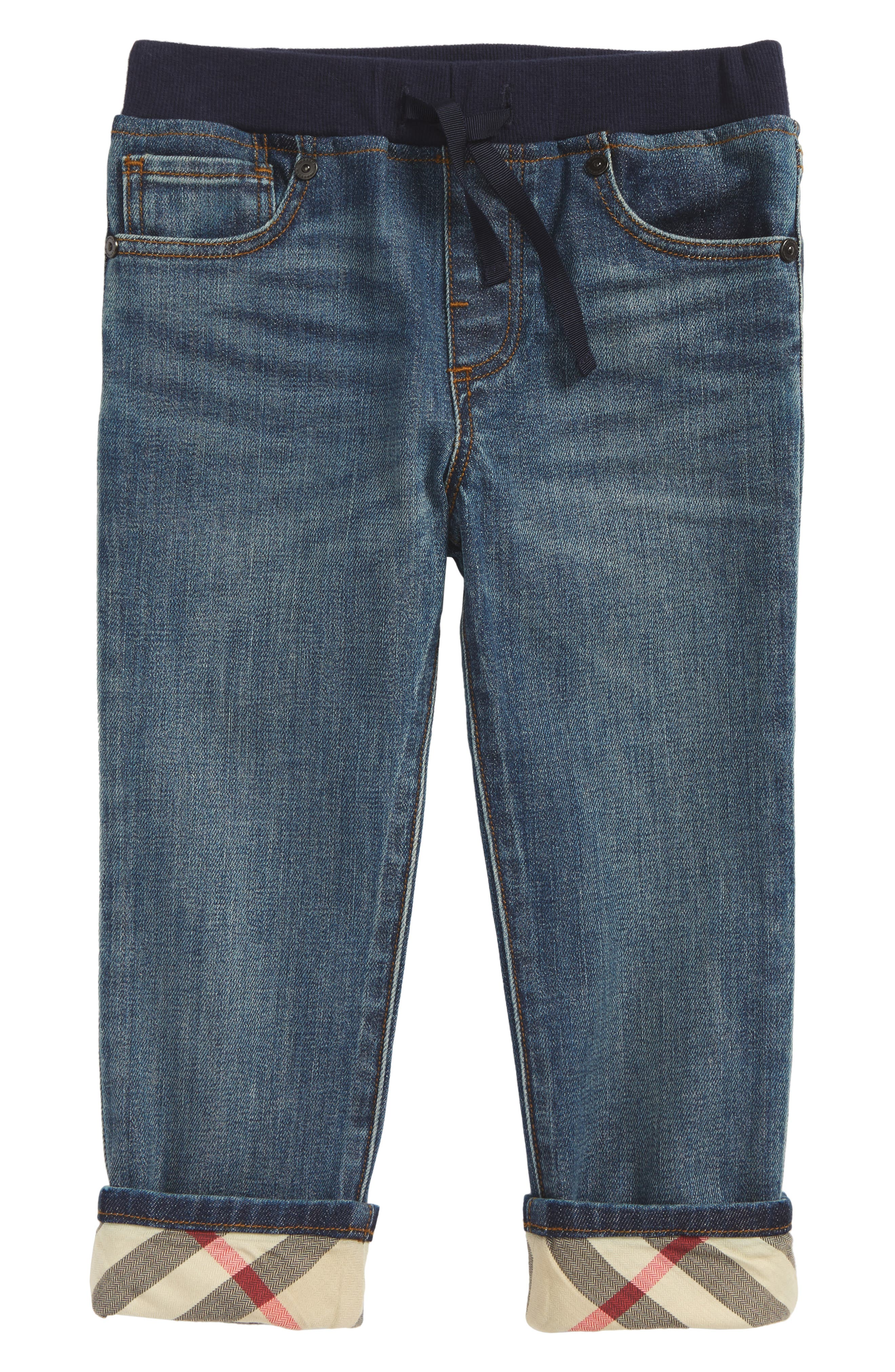 Alternate Image 1 Selected - Burberry Check Cuff Pull-On Jeans (Toddler Boys)