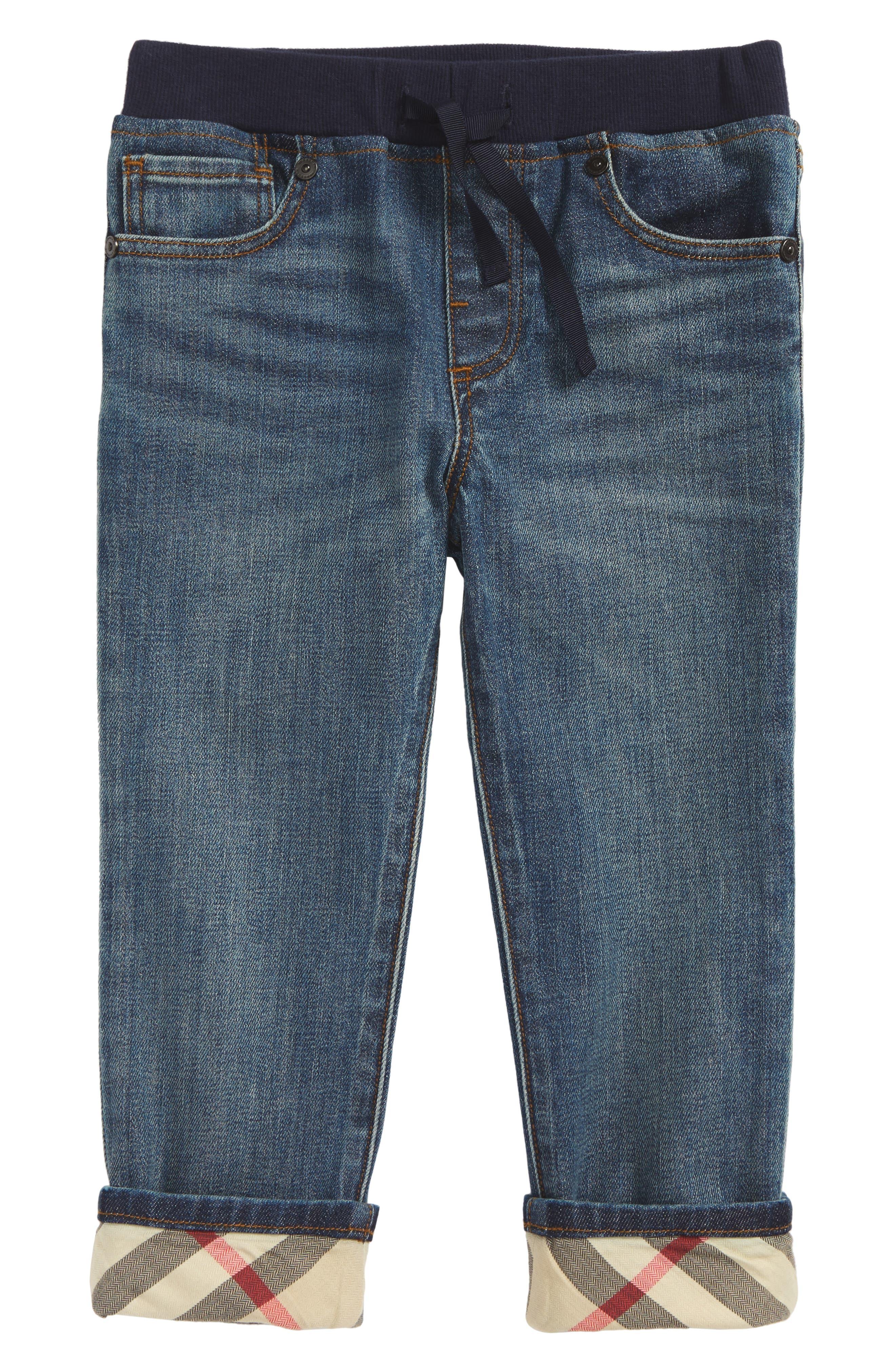 Check Cuff Pull-On Jeans,                         Main,                         color, Mid Indigo