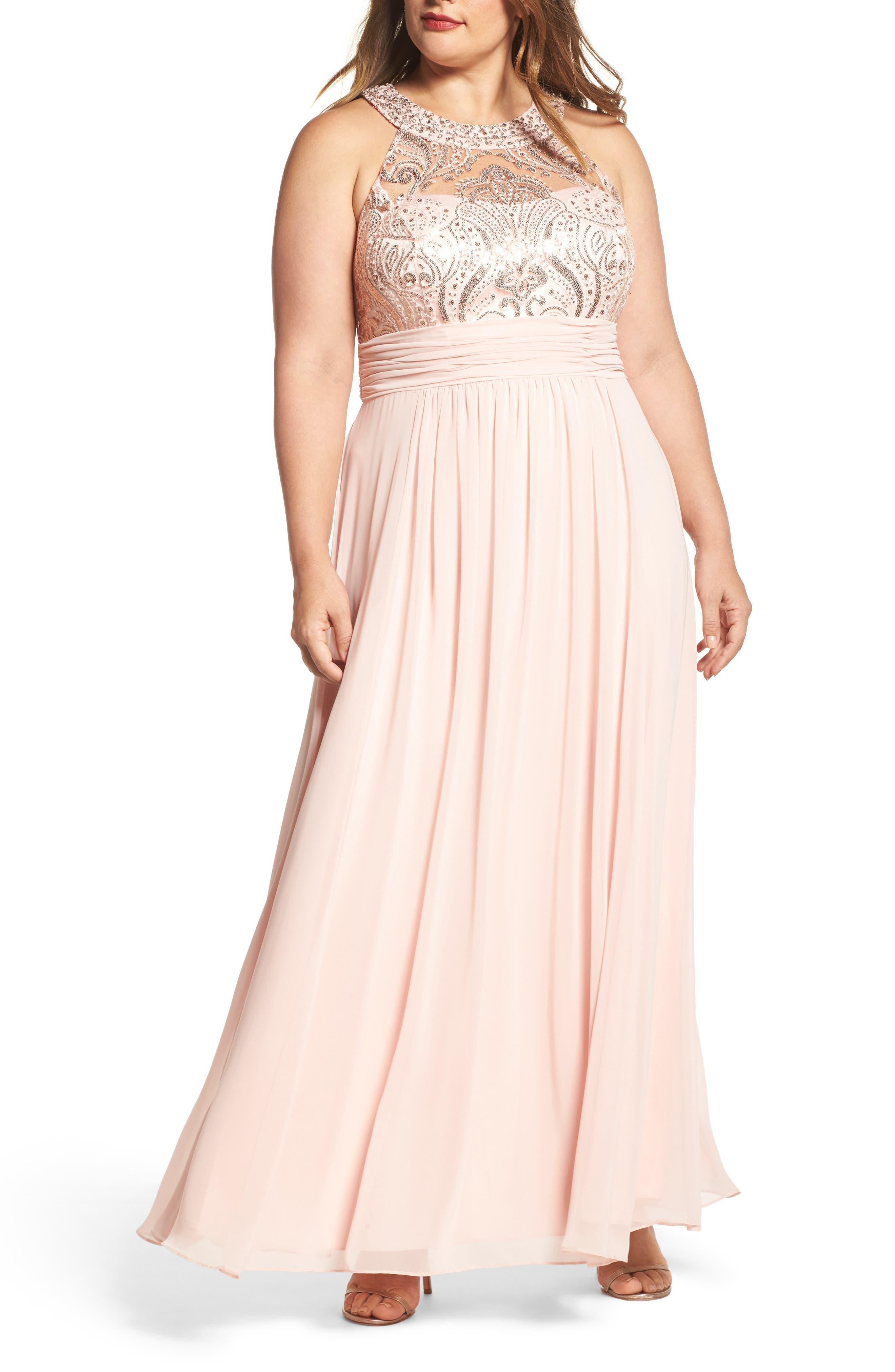 Sequin & Lace Bodice Chiffon Gown,                             Main thumbnail 1, color,                             Blush