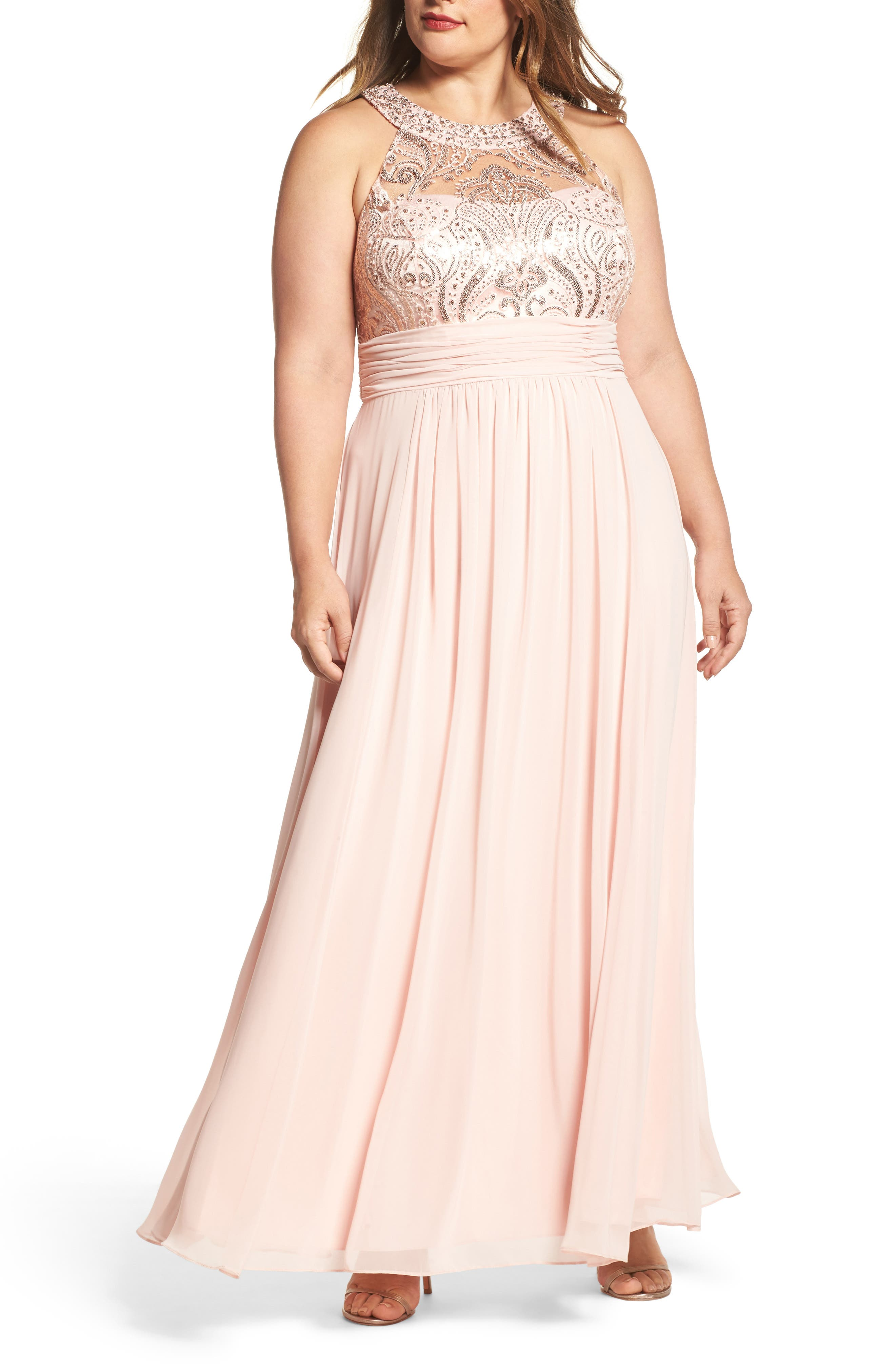 Sequin & Lace Bodice Chiffon Gown,                         Main,                         color, Blush