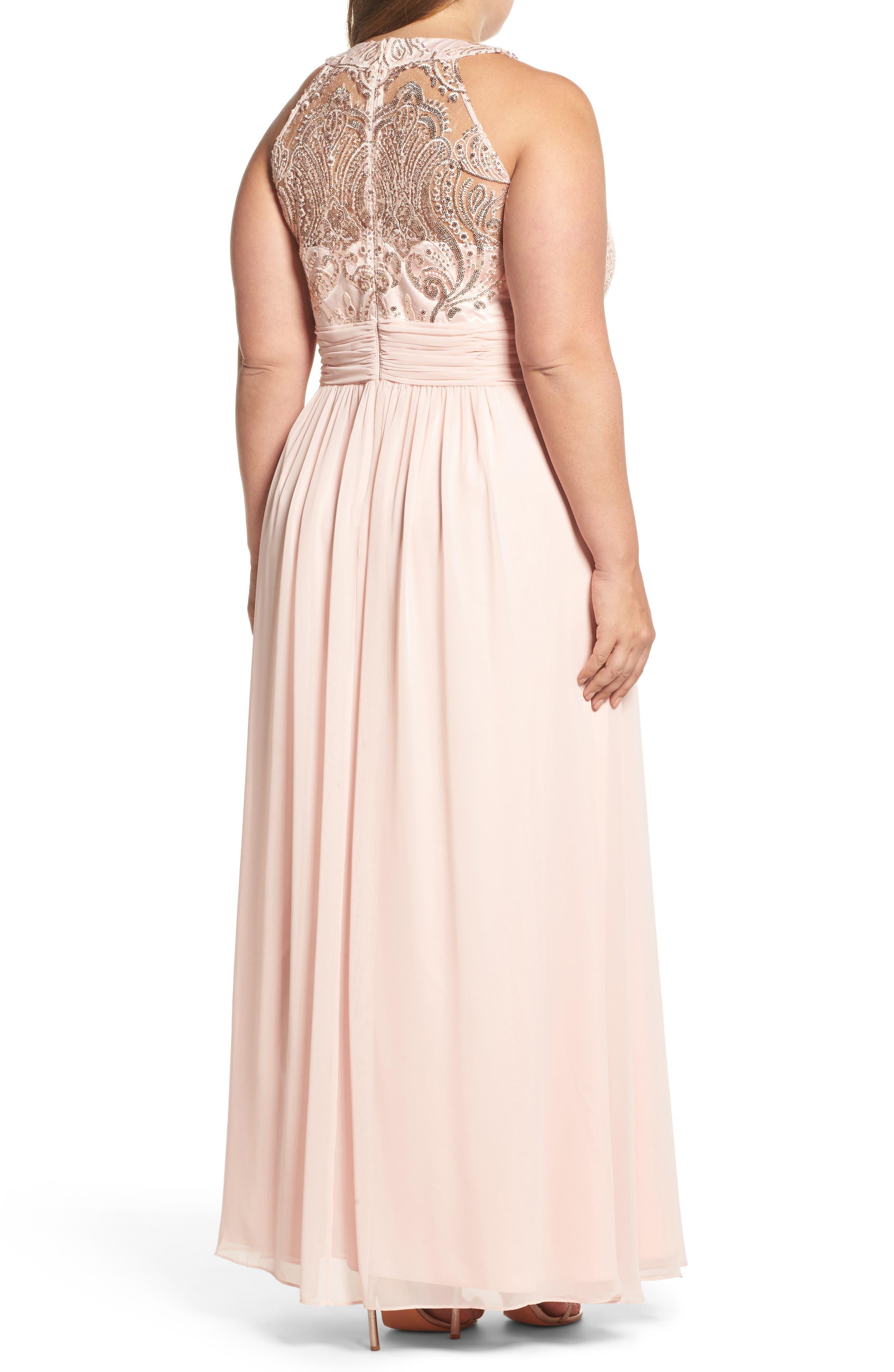 Sequin & Lace Bodice Chiffon Gown,                             Alternate thumbnail 2, color,                             Blush