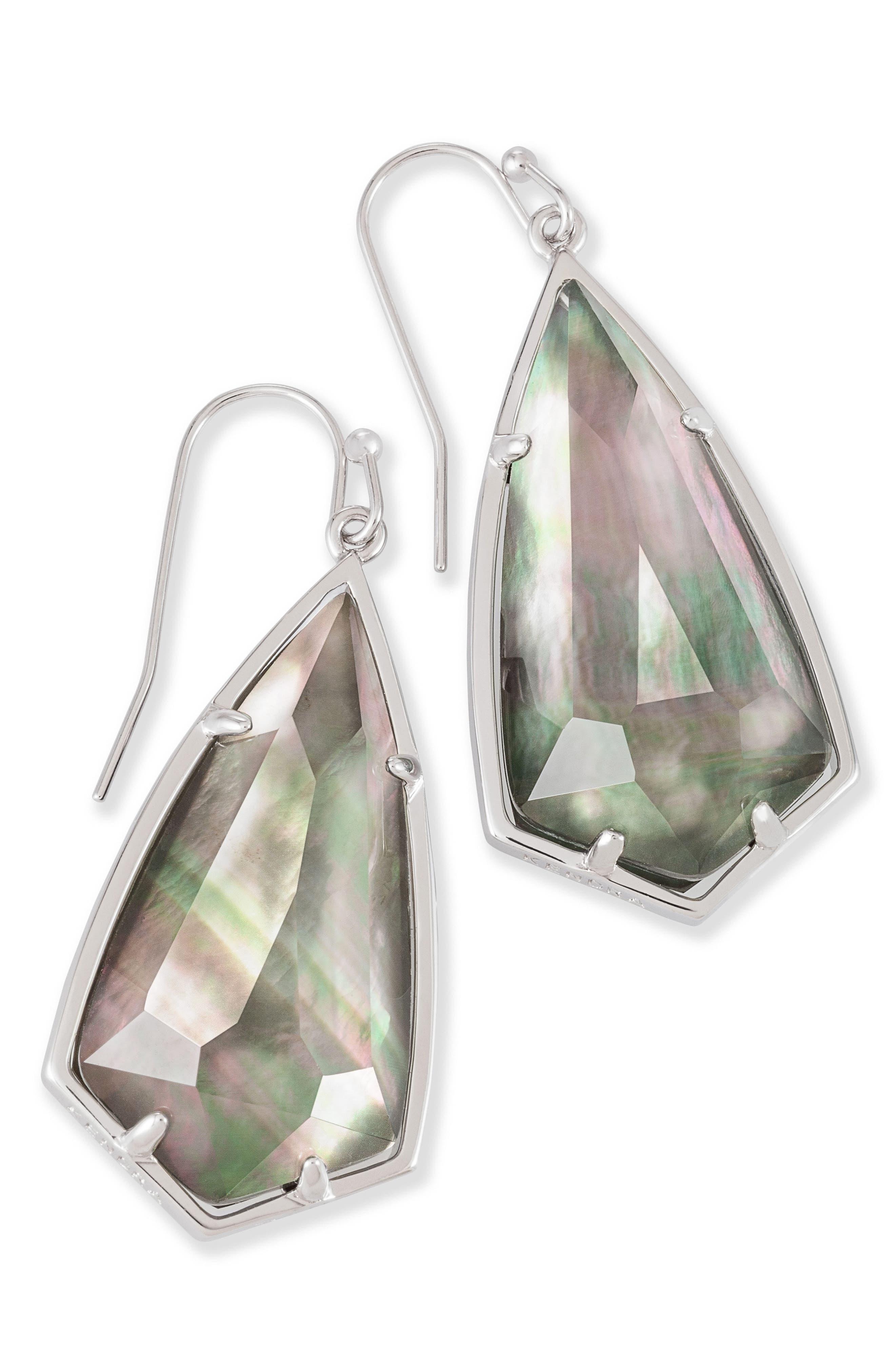 Carla Semiprecious Stone Drop Earrings,                             Main thumbnail 1, color,                             Black Mop/ Silver