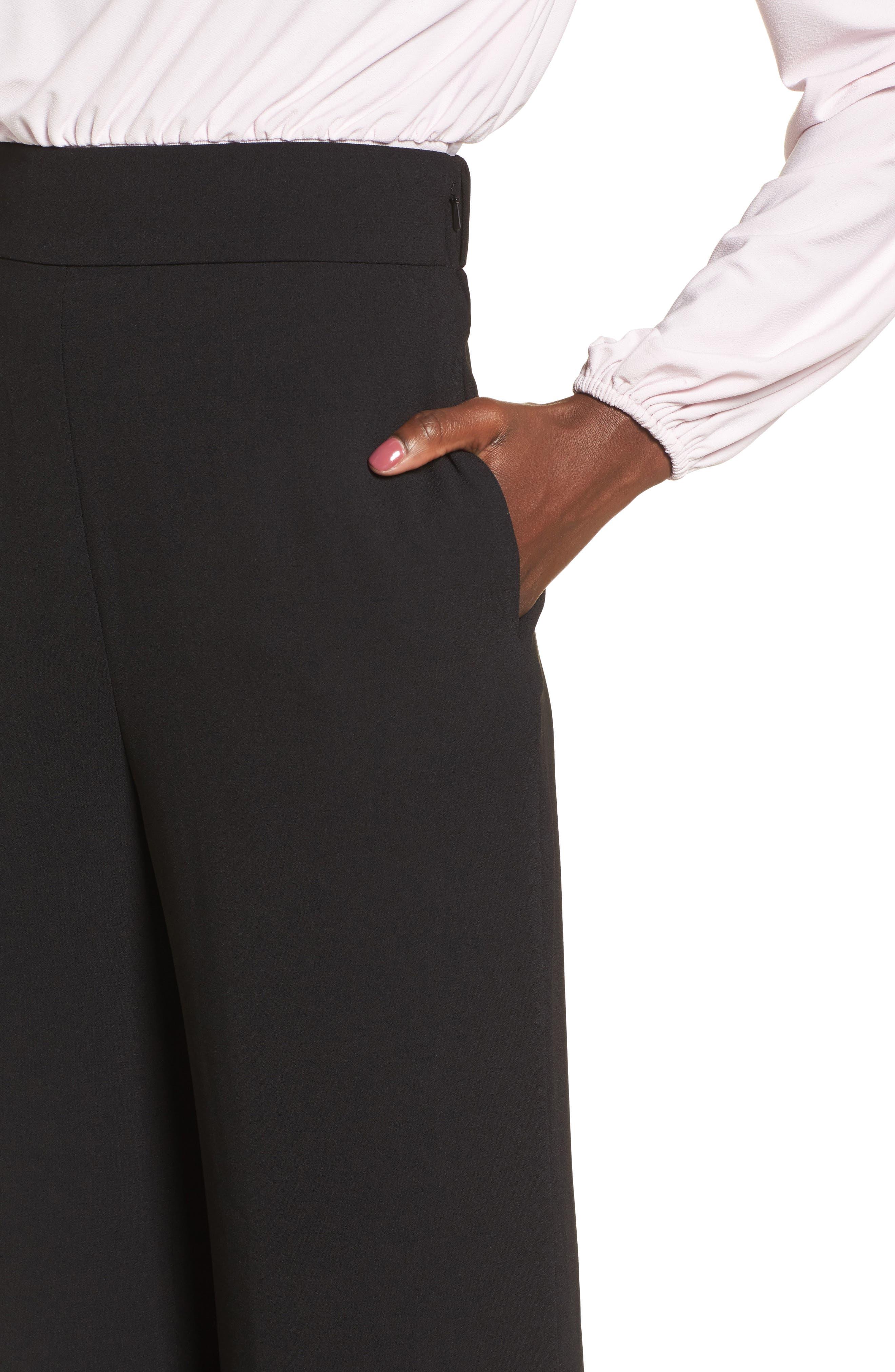 Wide Leg Pants,                             Alternate thumbnail 4, color,                             Black