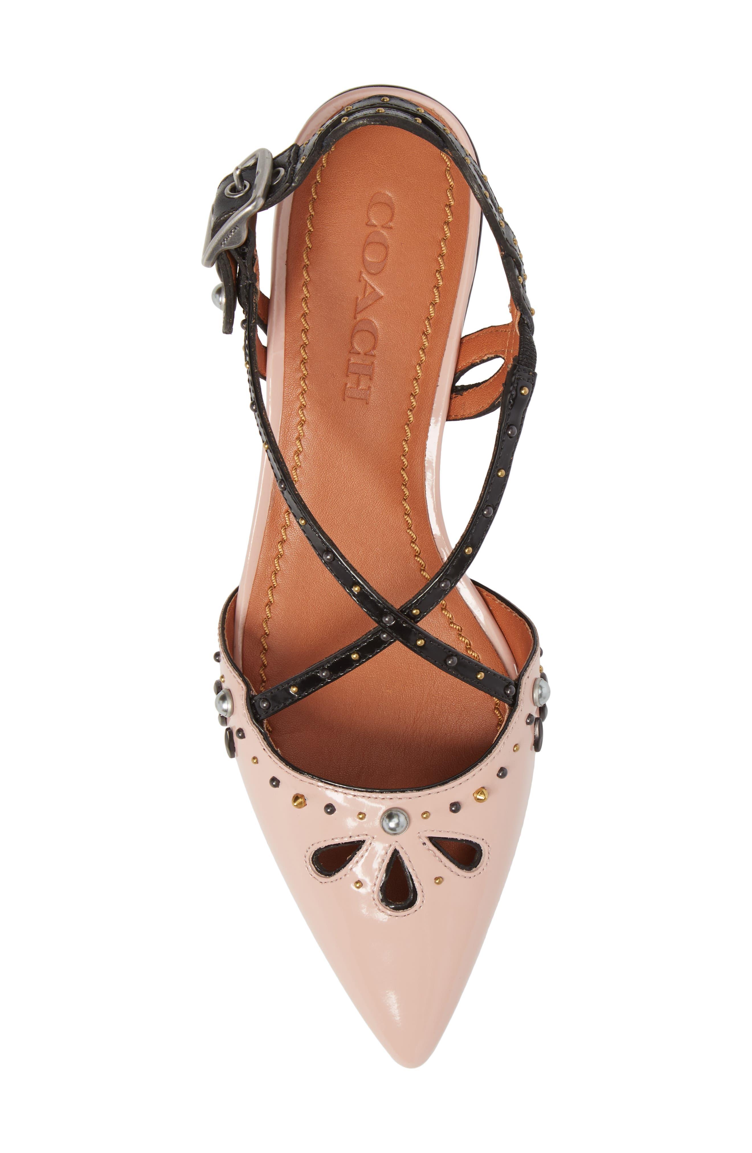 Prairie Rivet Sandal,                             Alternate thumbnail 5, color,                             Pink/ Black Leather