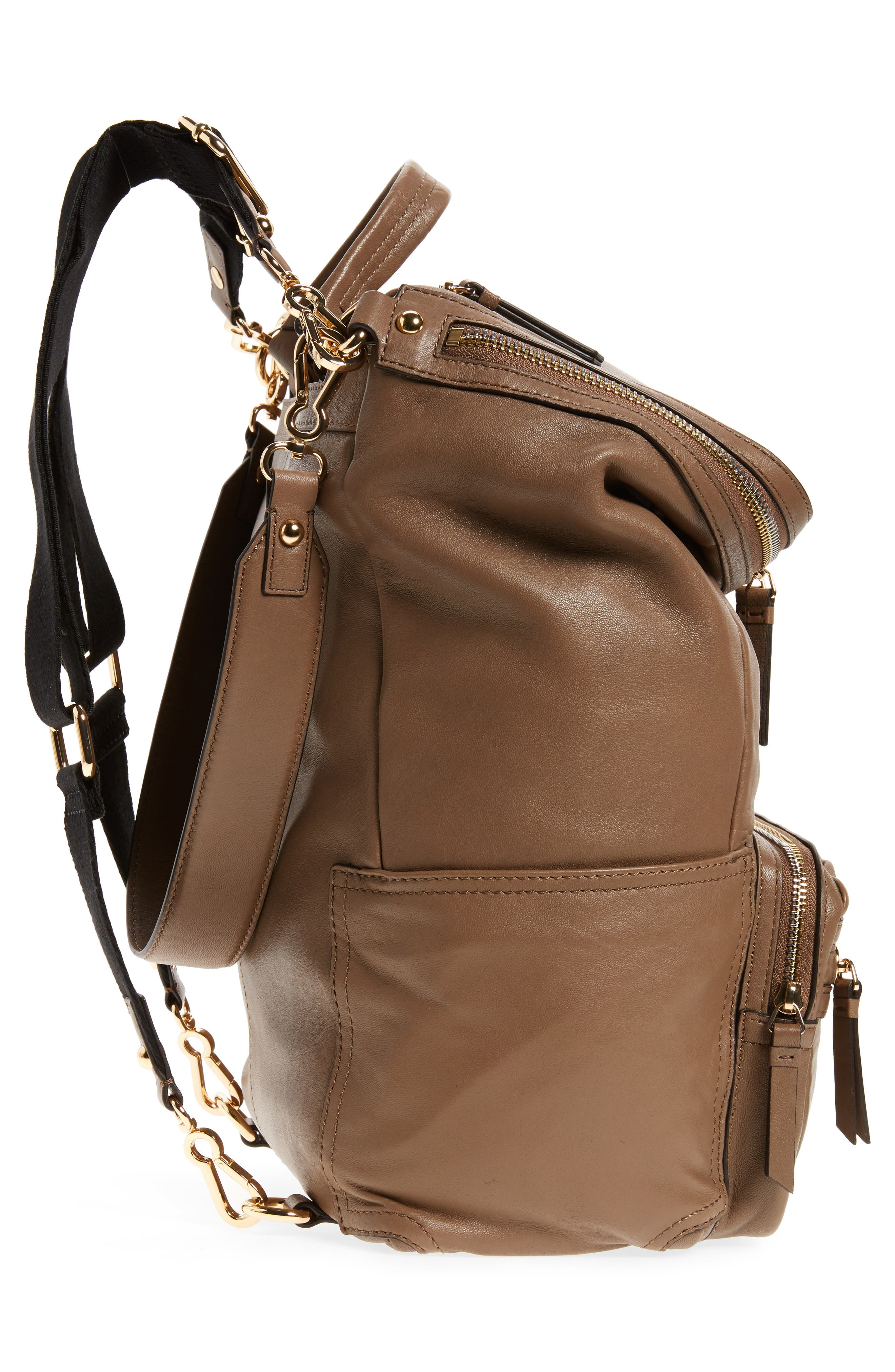 Patch Convertible Leather Backpack,                             Alternate thumbnail 5, color,                             Foxy