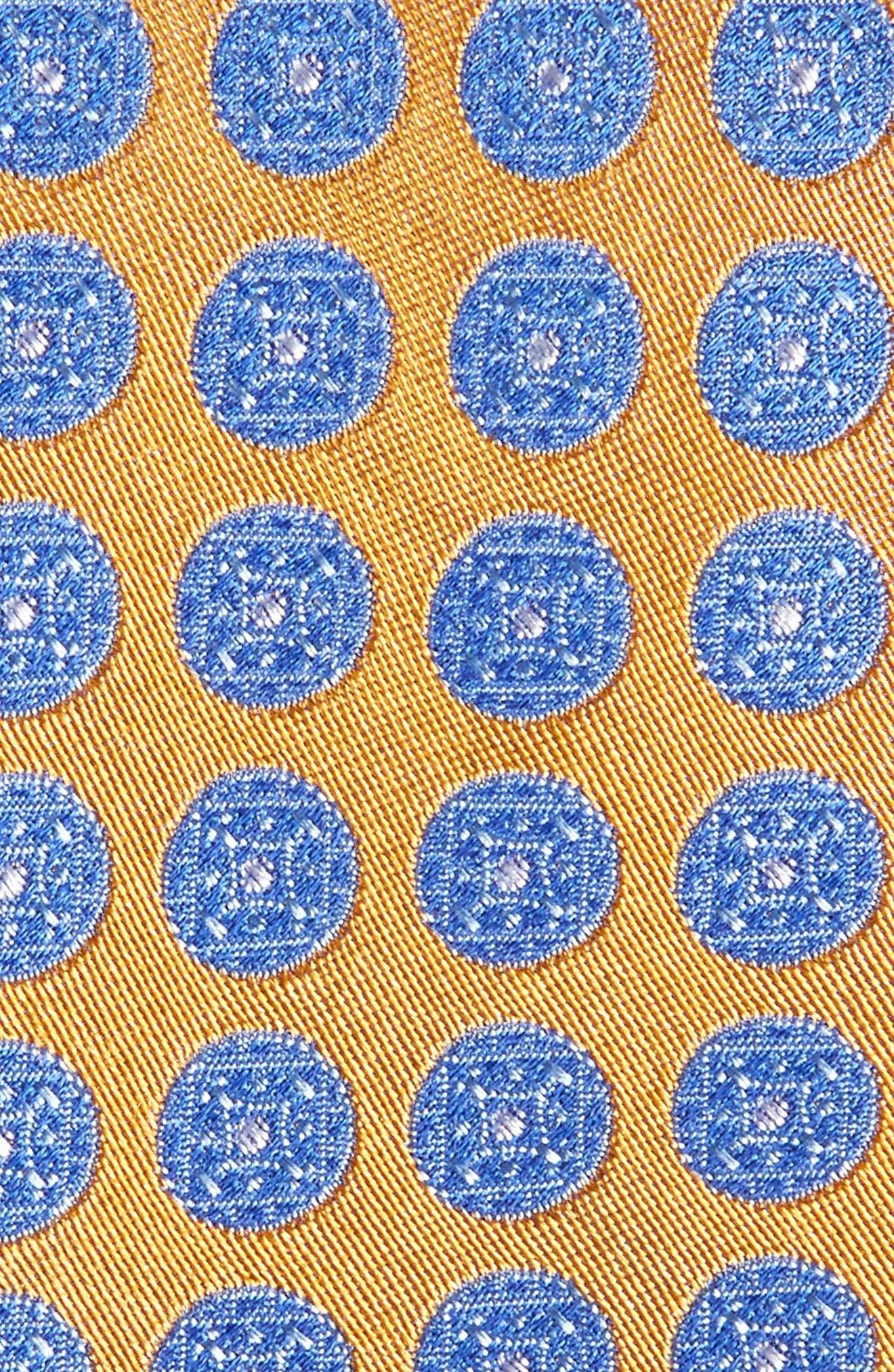 Carlos Medallion Silk Tie,                             Alternate thumbnail 2, color,                             Gold