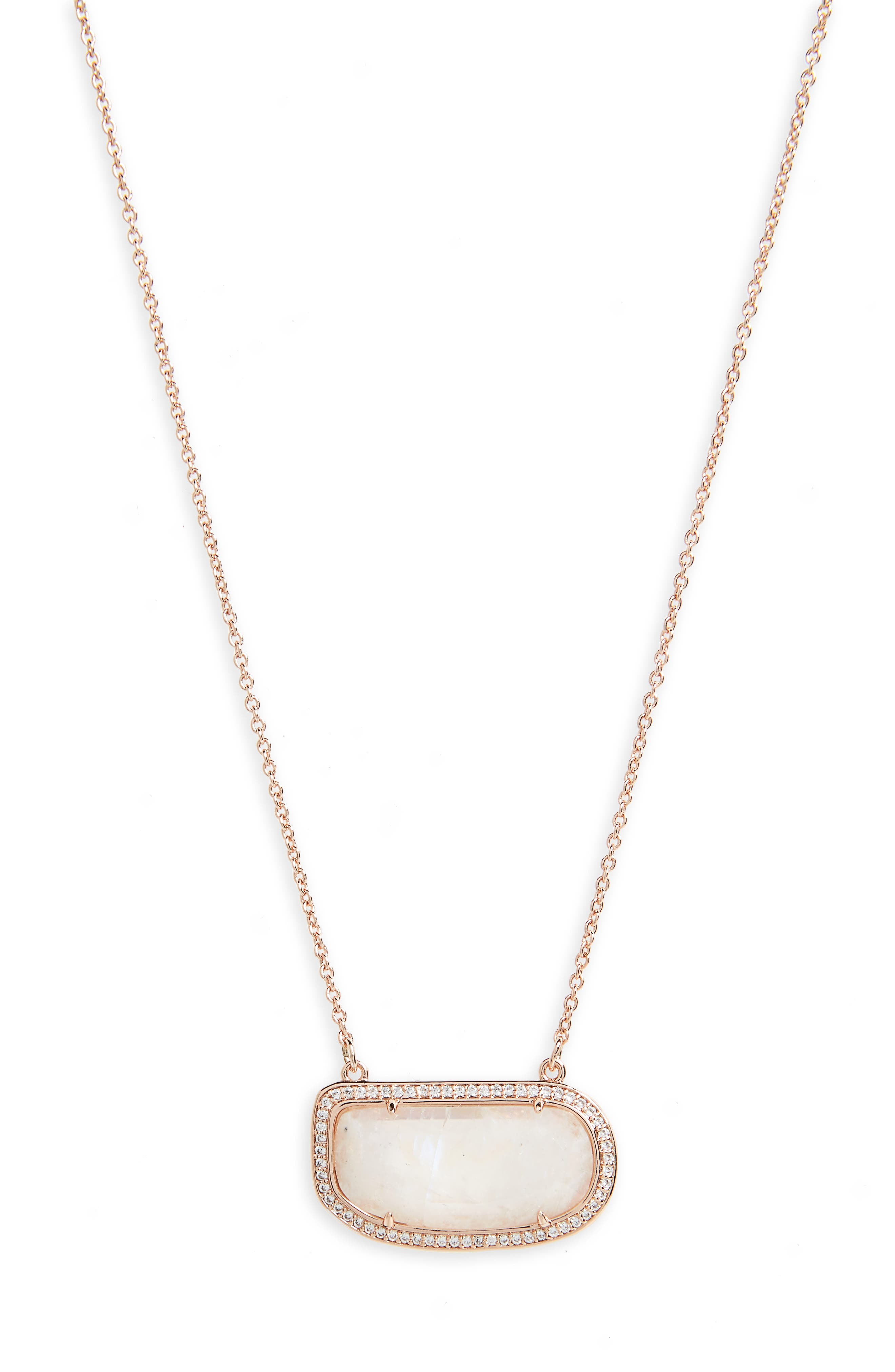 Moonstone Slice Necklace,                             Main thumbnail 1, color,                             Moonstone/ Rose Gold