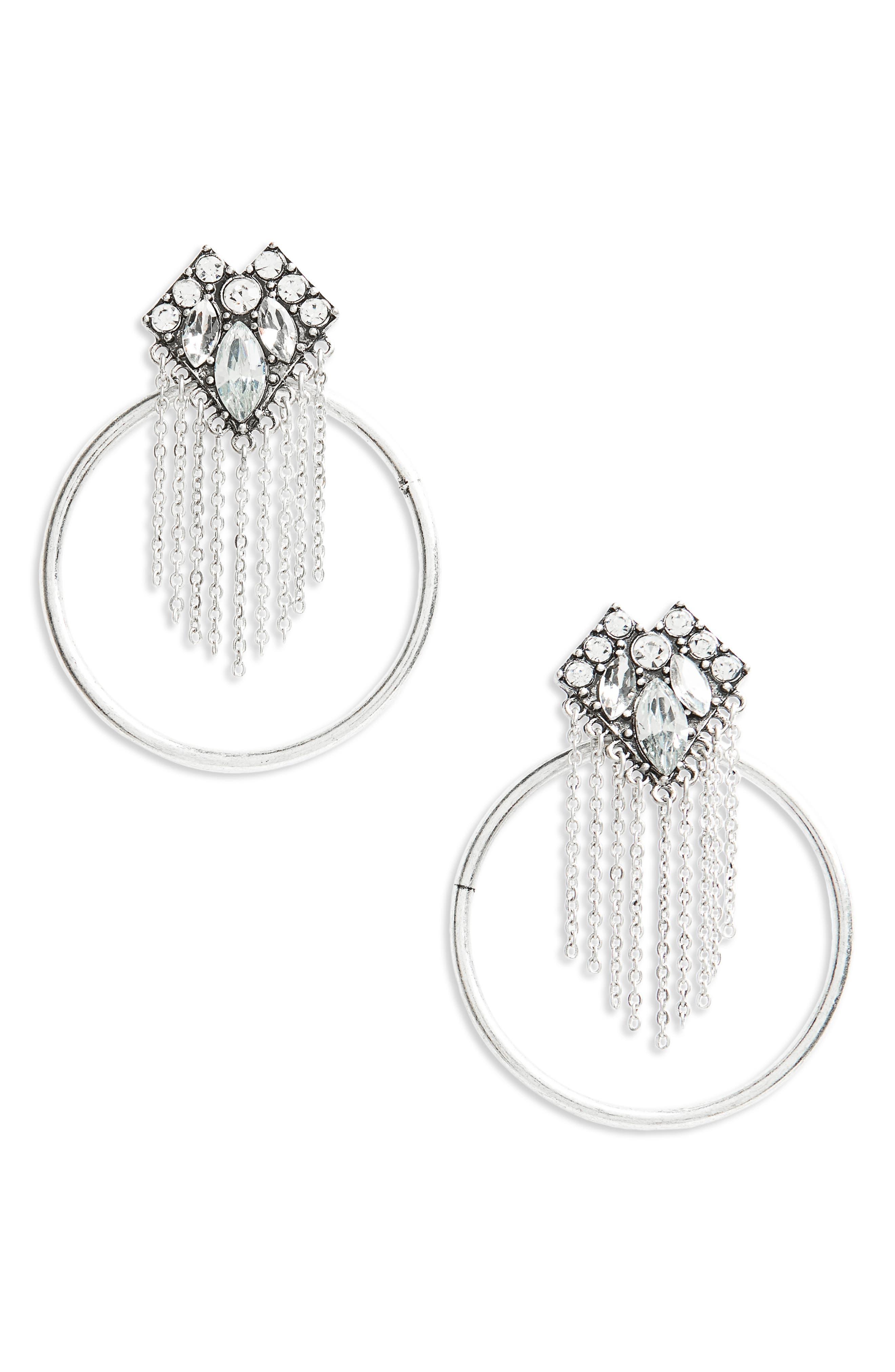 Fringe and Hoop Earrings,                         Main,                         color, Crystal