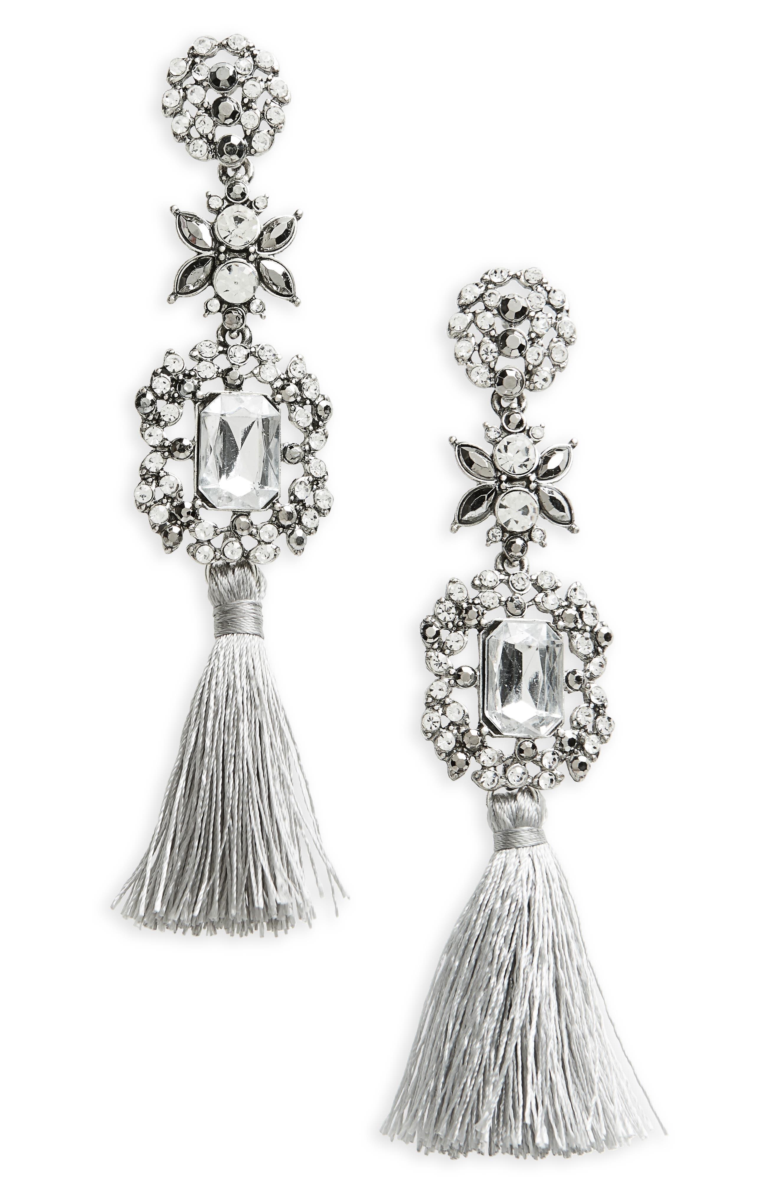 Crystal Tassel Drop Earrings,                             Main thumbnail 1, color,                             Crystal