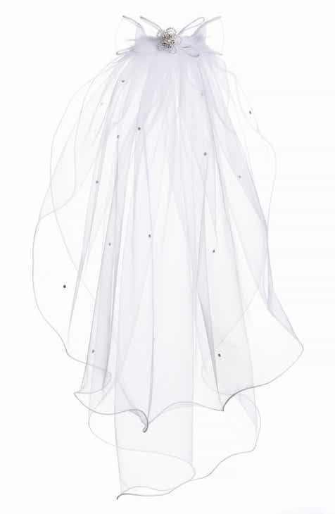 a0024ed3e81 Lauren Marie Beaded Bow   Veil (Big Girls)