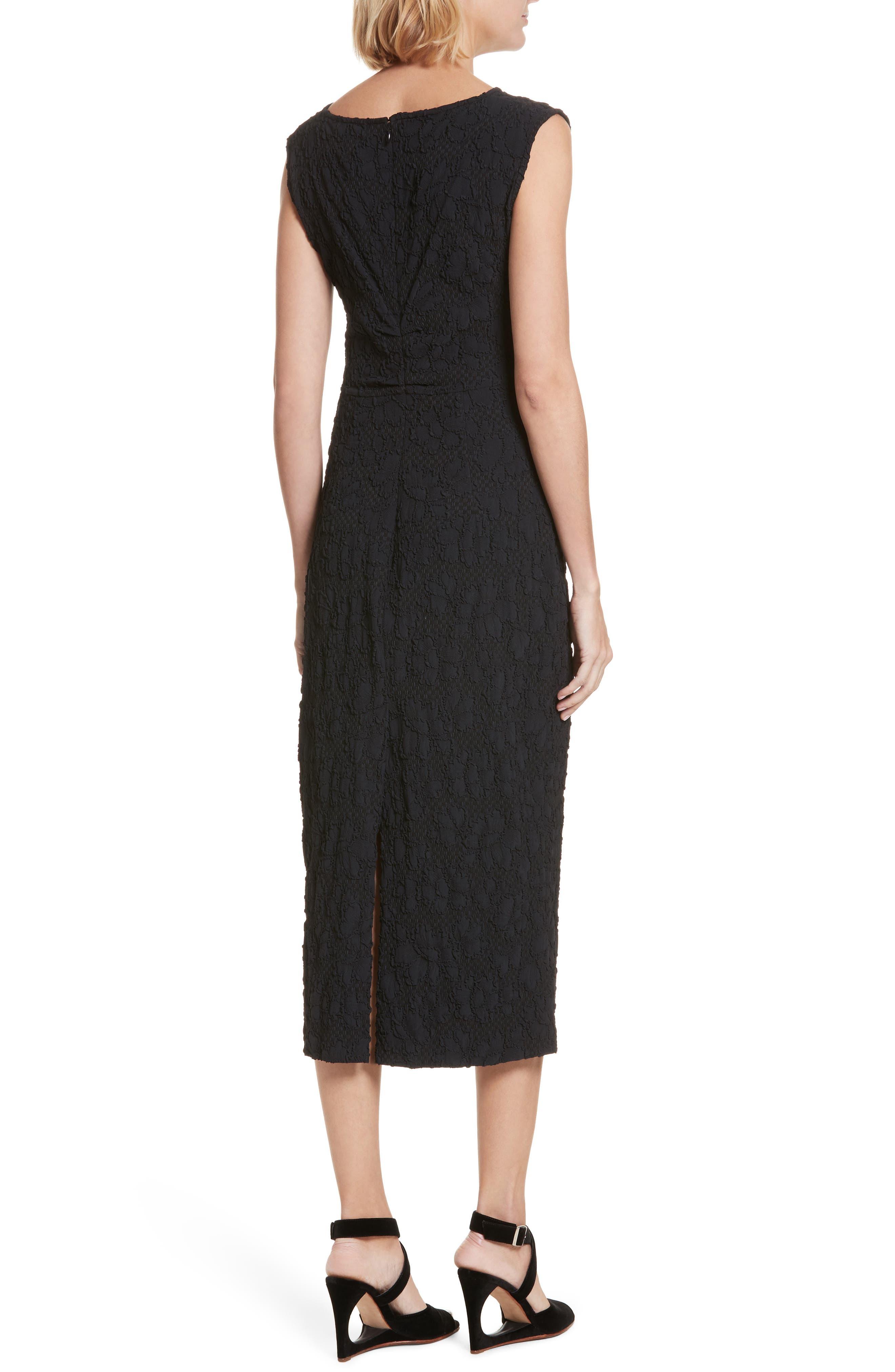 Medina Floral Jacquard Sheath Dress,                             Alternate thumbnail 2, color,                             Black