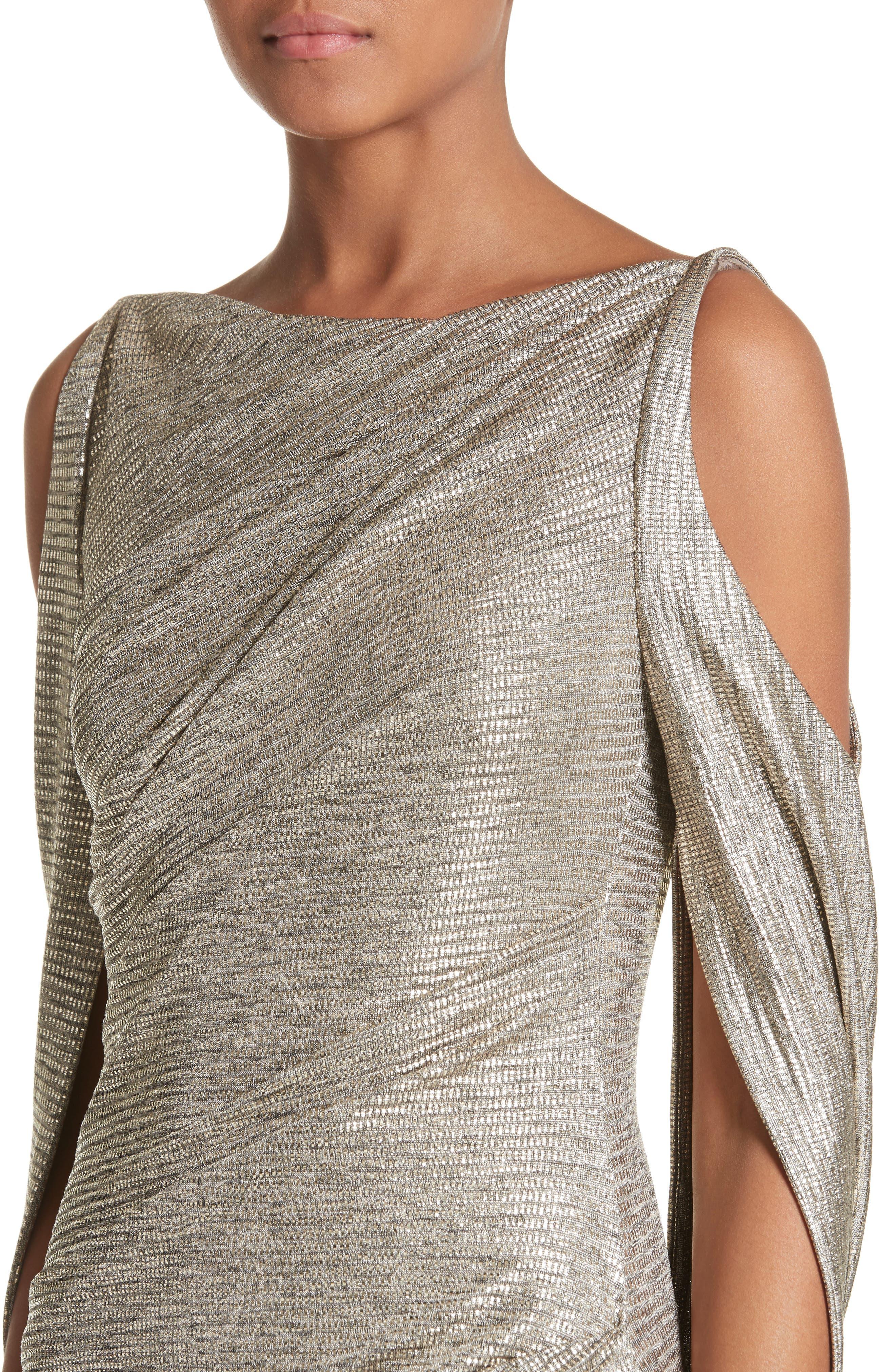 Cold Shoulder Drape Back Gown,                             Alternate thumbnail 4, color,                             Gold