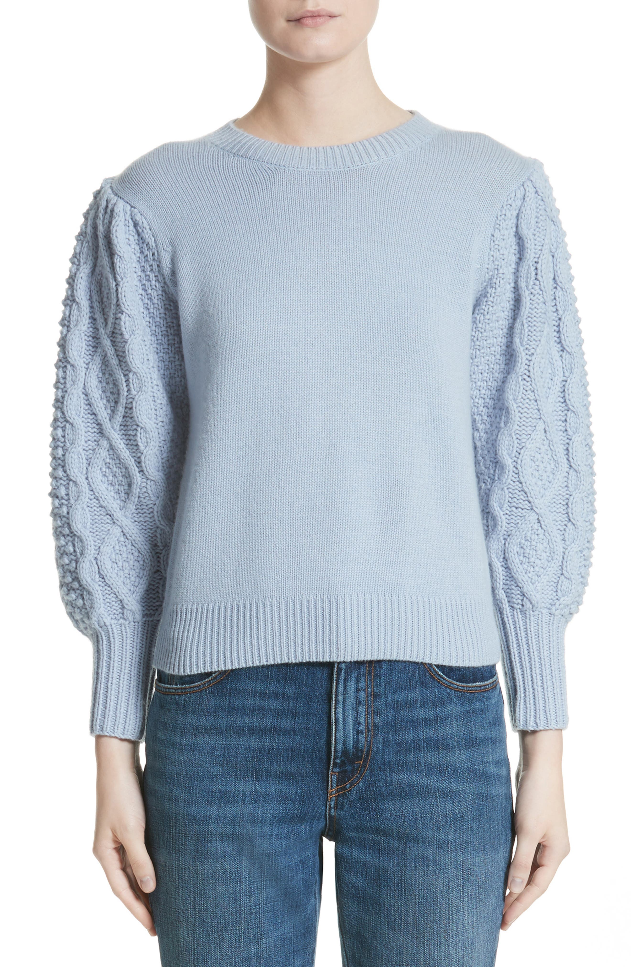 Puff Sleeve Wool & Cashmere Sweater,                         Main,                         color, Baby Blue