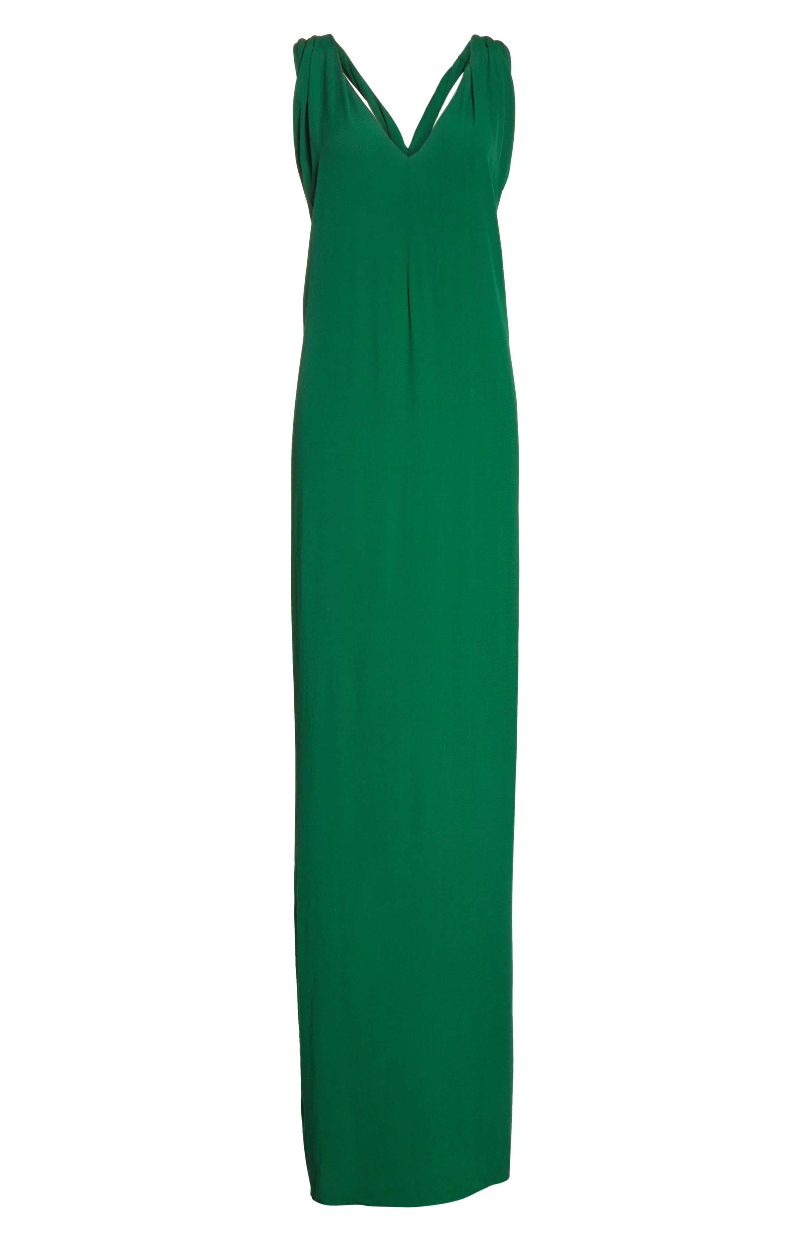 Crepe Cross Back Gown,                             Alternate thumbnail 7, color,                             Emerald