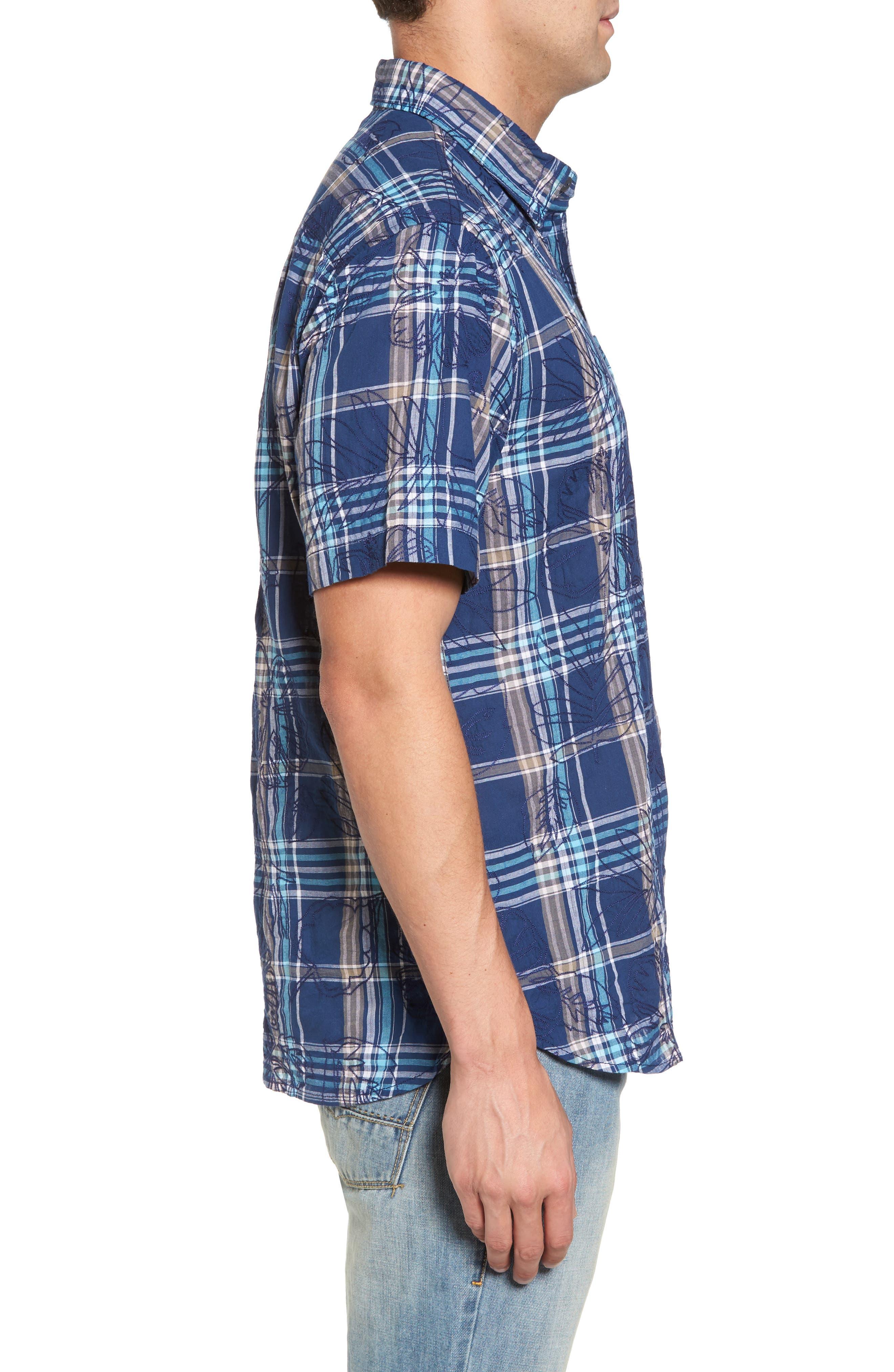 Pallazo Plaid Sport Shirt,                             Alternate thumbnail 3, color,                             Dockside Blue