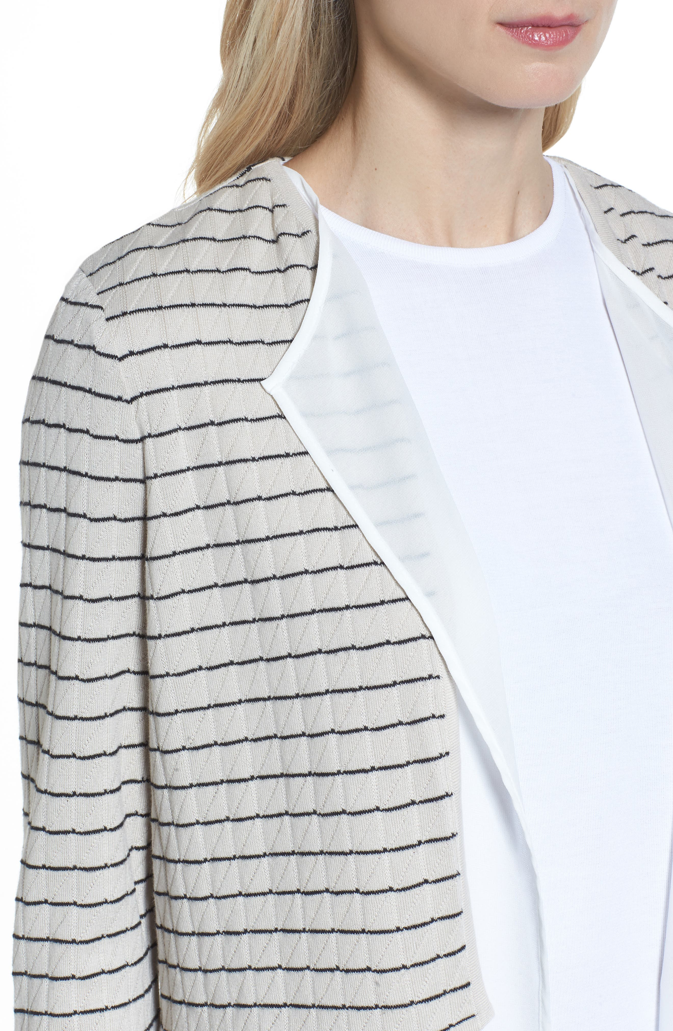 Layered Look Knit Jacket,                             Alternate thumbnail 4, color,                             Almond Beige/ Black/ White