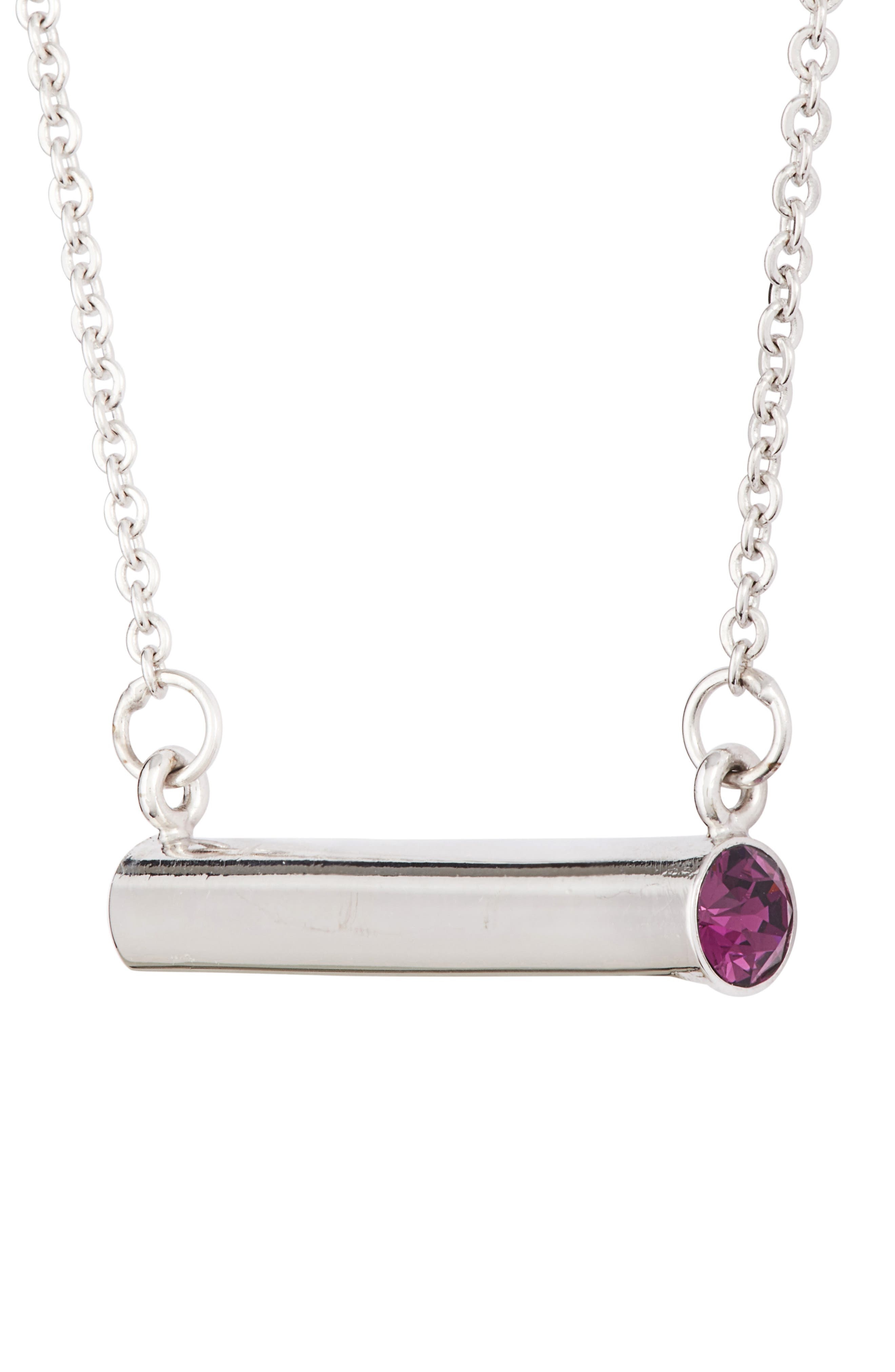 February Crystal Bar Pendant Necklace,                             Alternate thumbnail 3, color,                             Silver