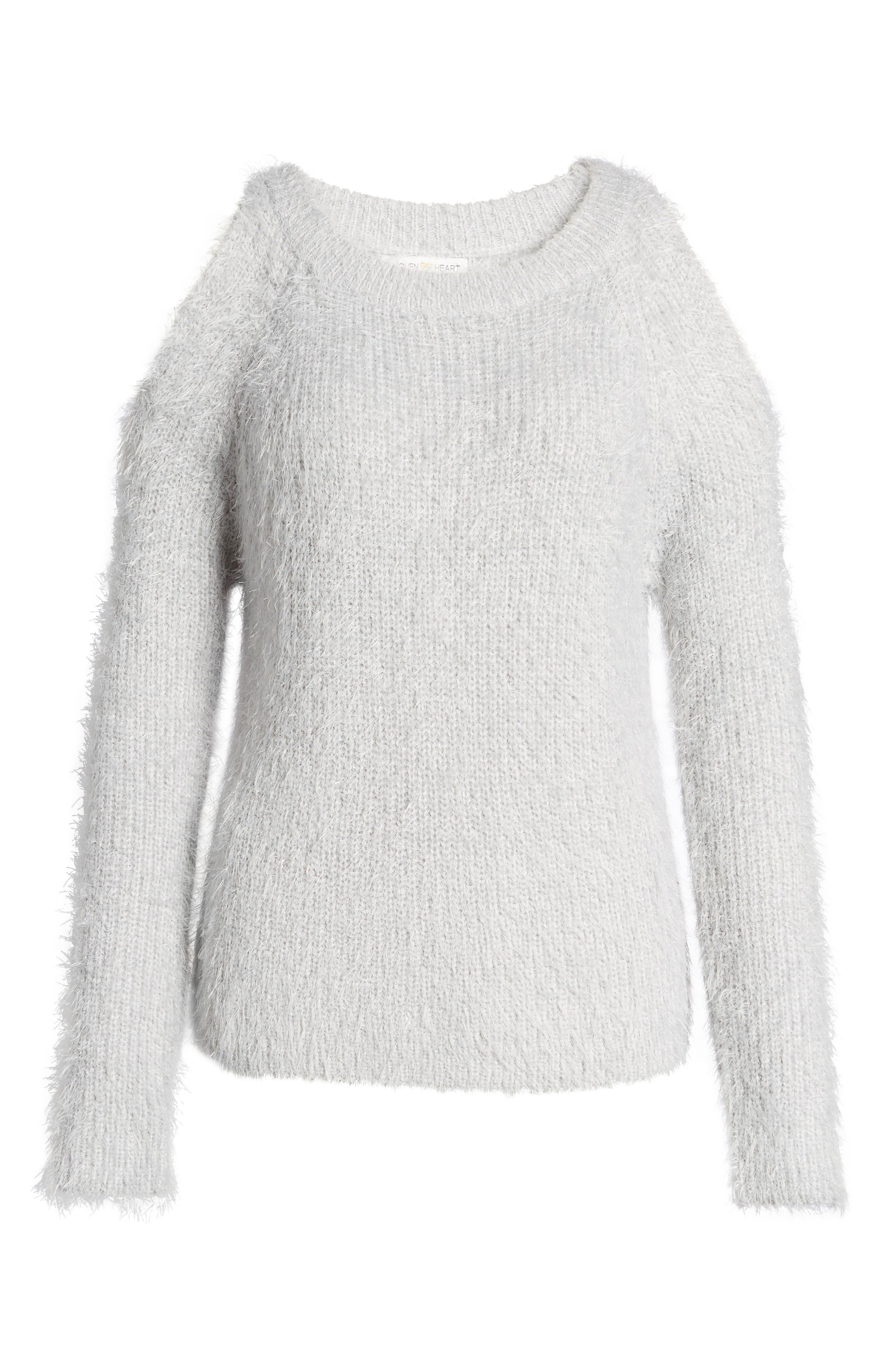 Cold Shoulder Sweater,                             Alternate thumbnail 6, color,                             Light Purple Grey