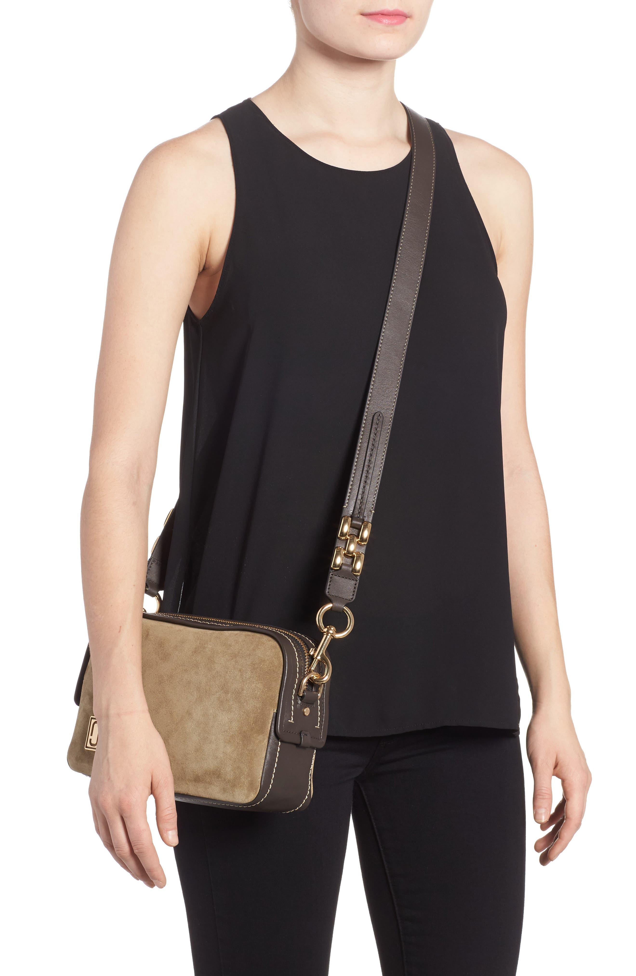 The Squeeze Suede & Leather Shoulder Bag,                             Alternate thumbnail 2, color,                             Pyrite