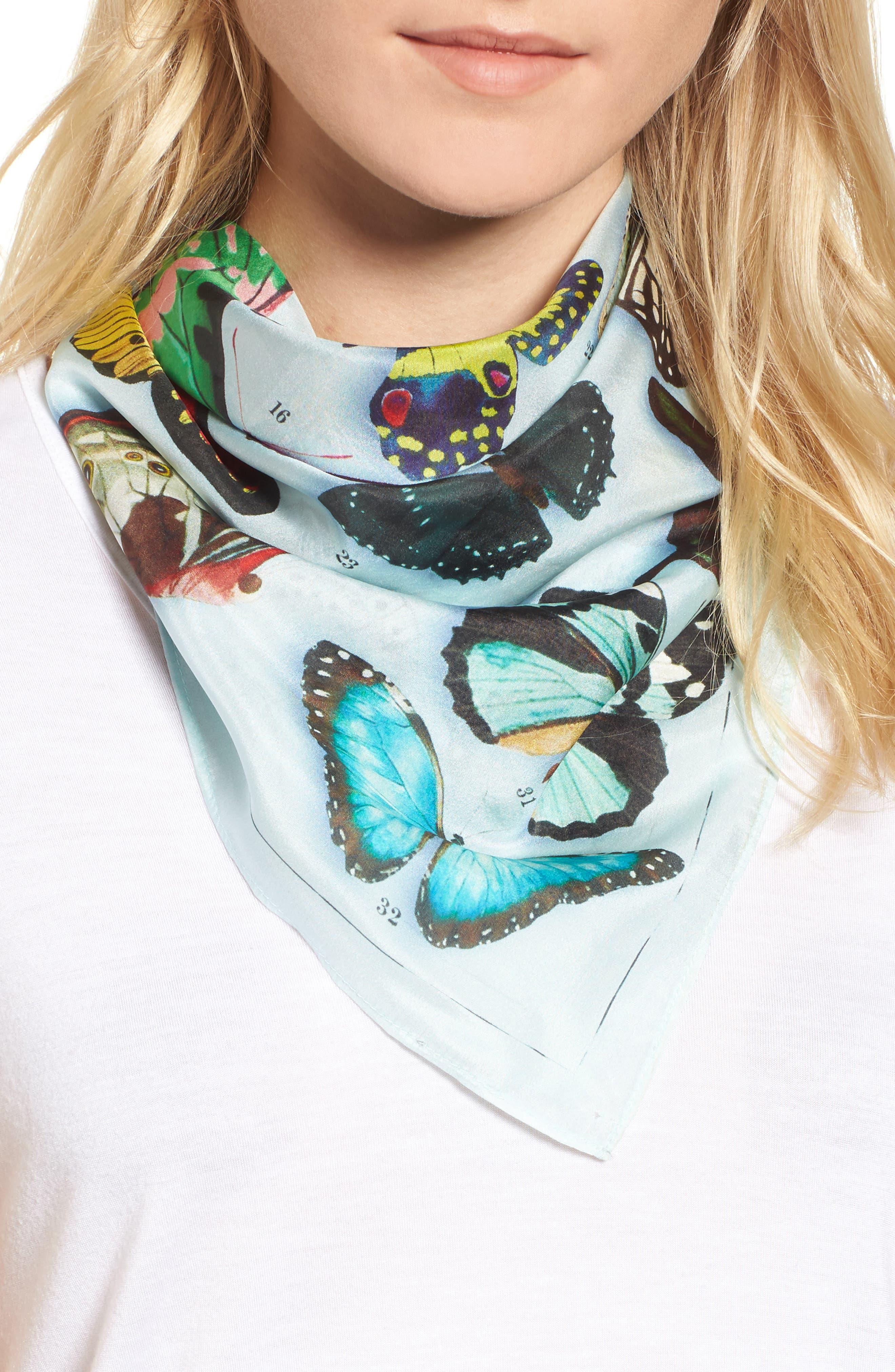 Print Silk Scarf,                             Main thumbnail 1, color,                             Blue Butterfly Beauty Print