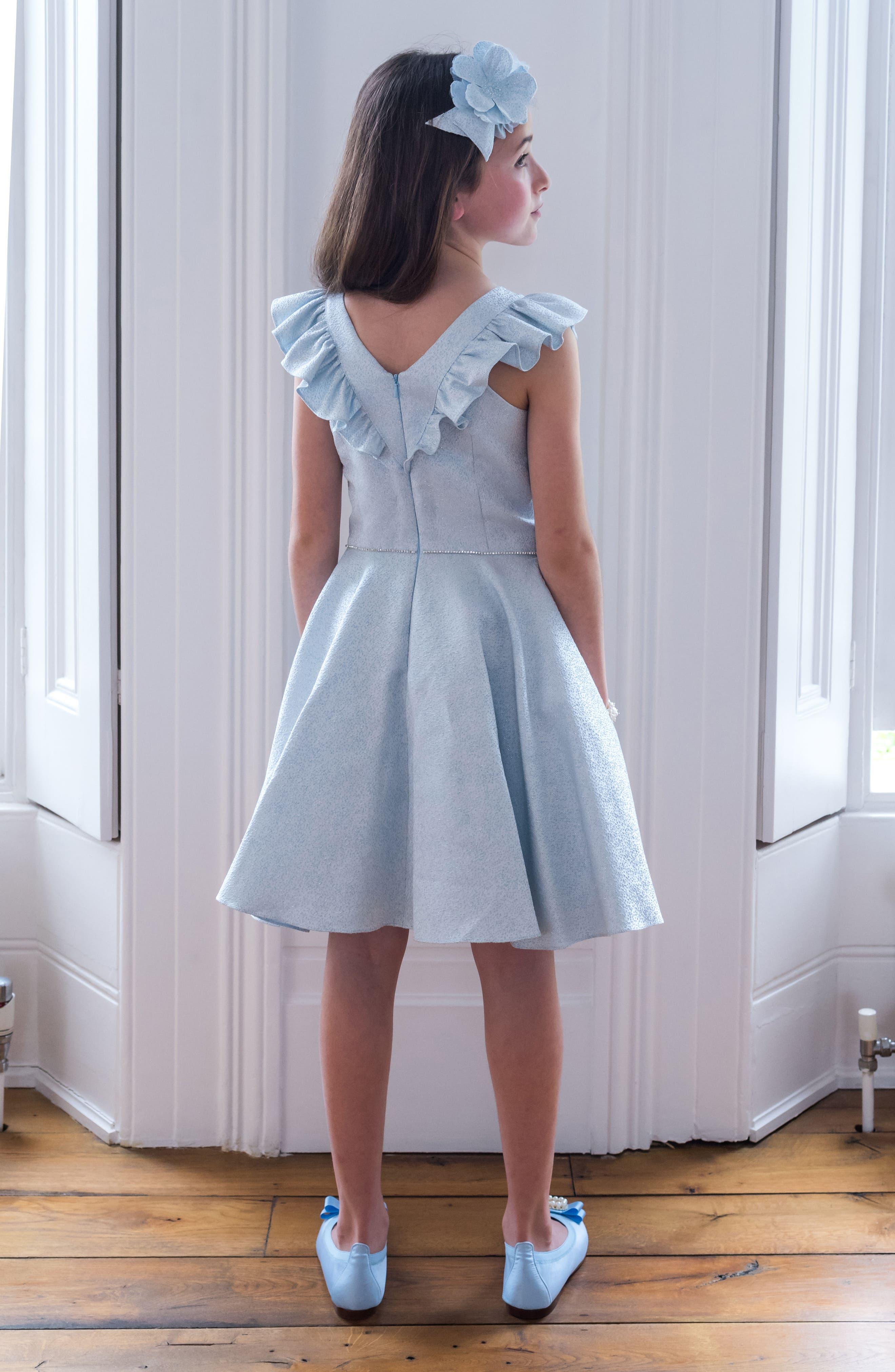 Alternate Image 4  - David Charles Flutter Sleeve Dress (Big Girls)