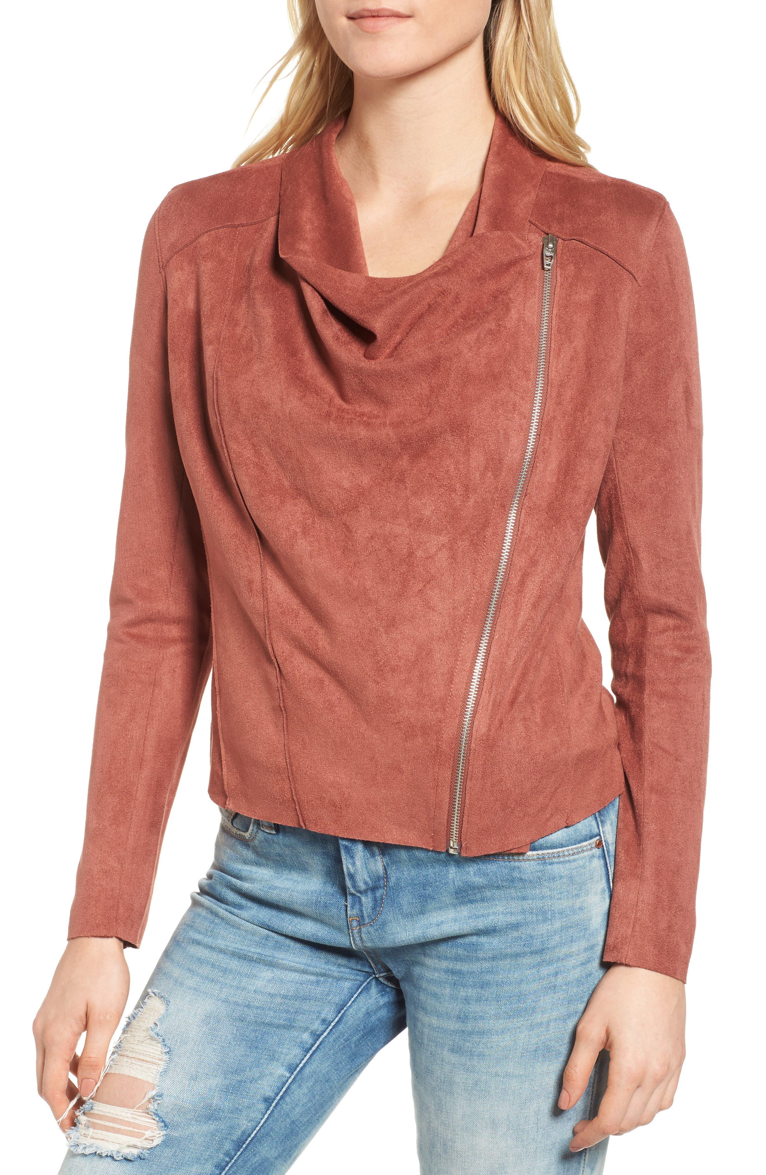 Alternate Image 2  - BLANKNYC Drape Front Faux Suede Jacket