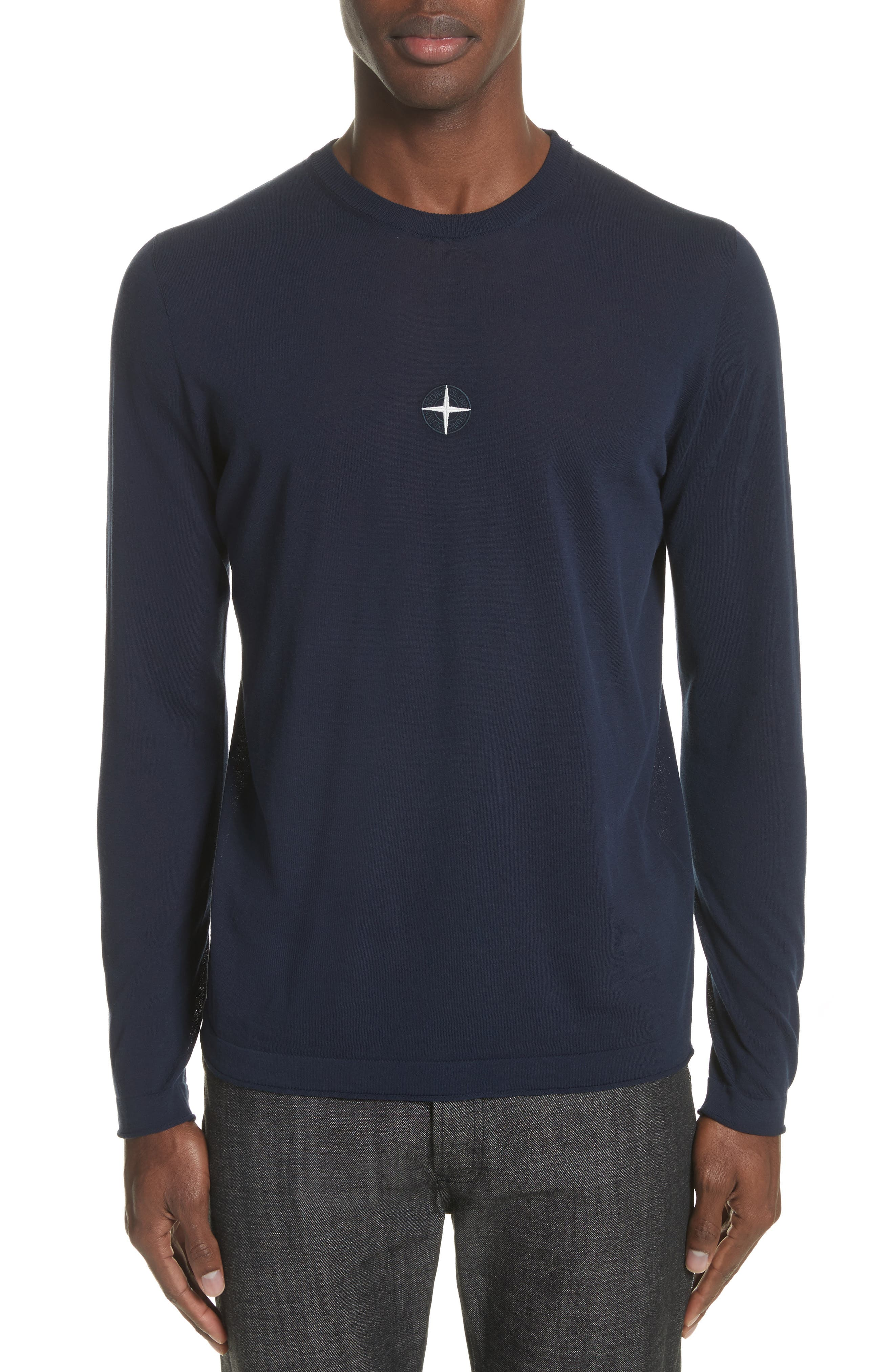 Embroidered Crest Sweater,                         Main,                         color, Blue