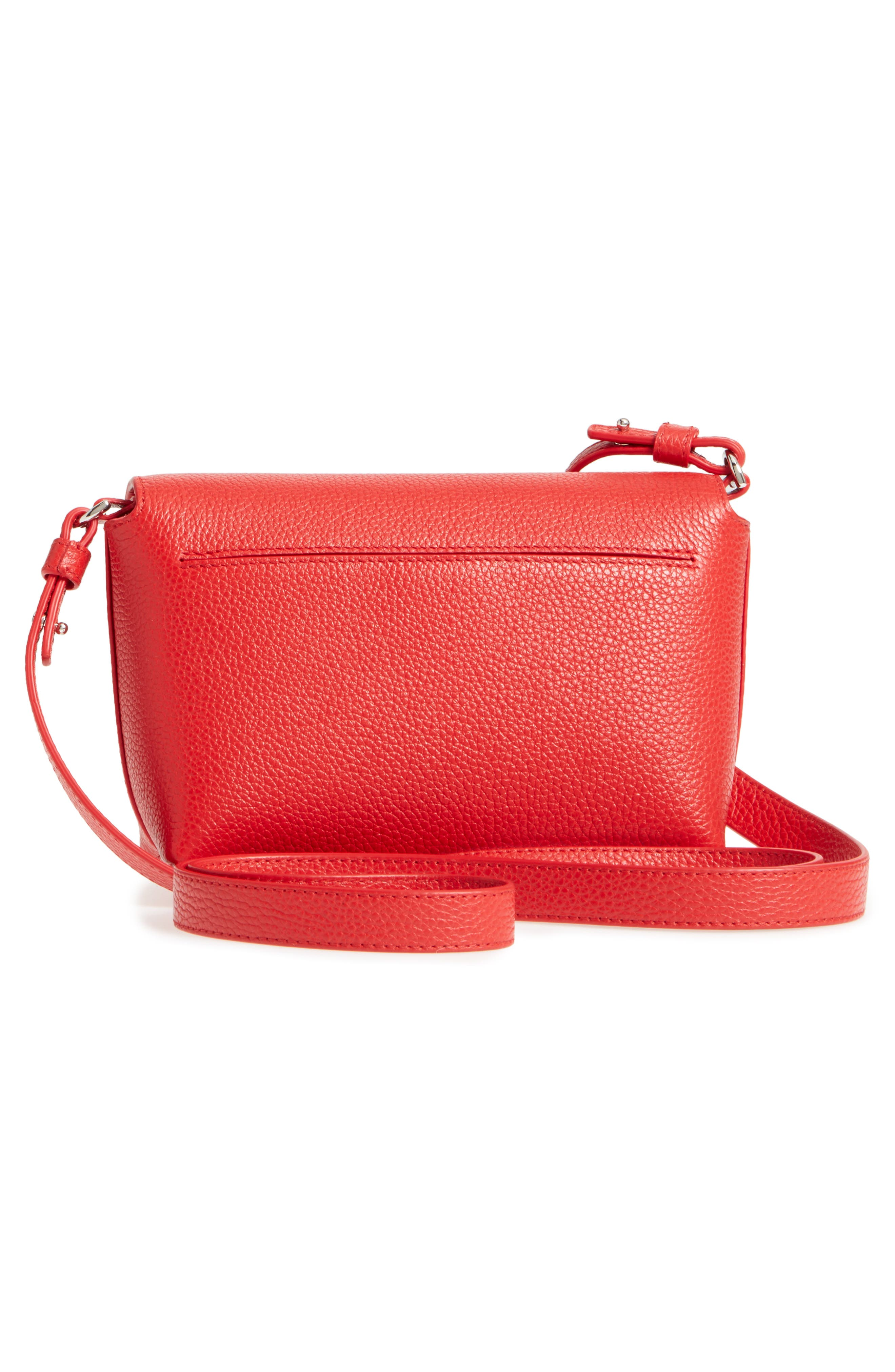 Little Anouk Calfskin Crossbody Bag,                             Alternate thumbnail 3, color,                             Scarlet