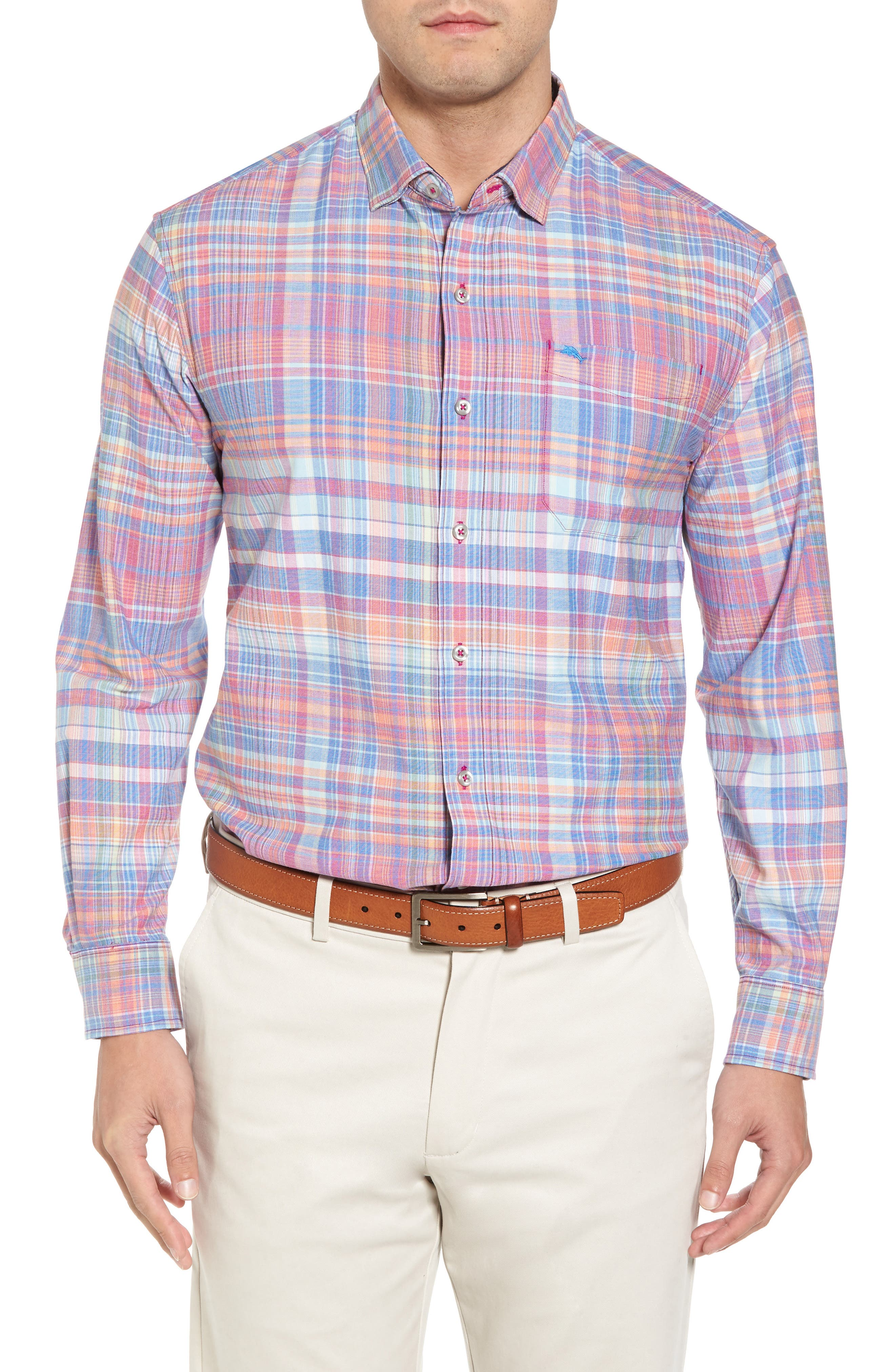 Mangrove Madras Regular Fit Sport Shirt,                             Main thumbnail 1, color,                             Virtual Pink