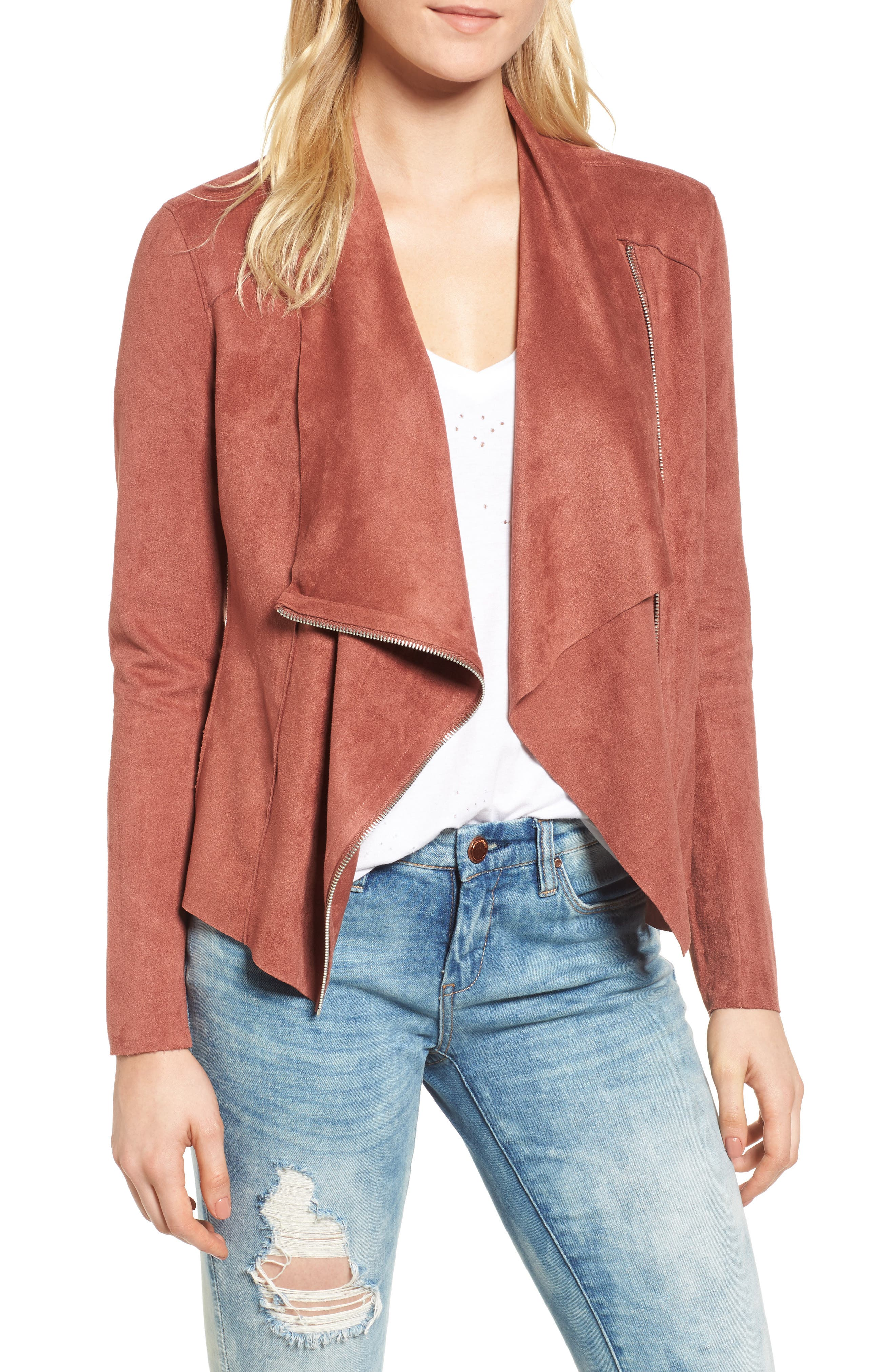 Alternate Image 1 Selected - BLANKNYC Drape Front Faux Suede Jacket