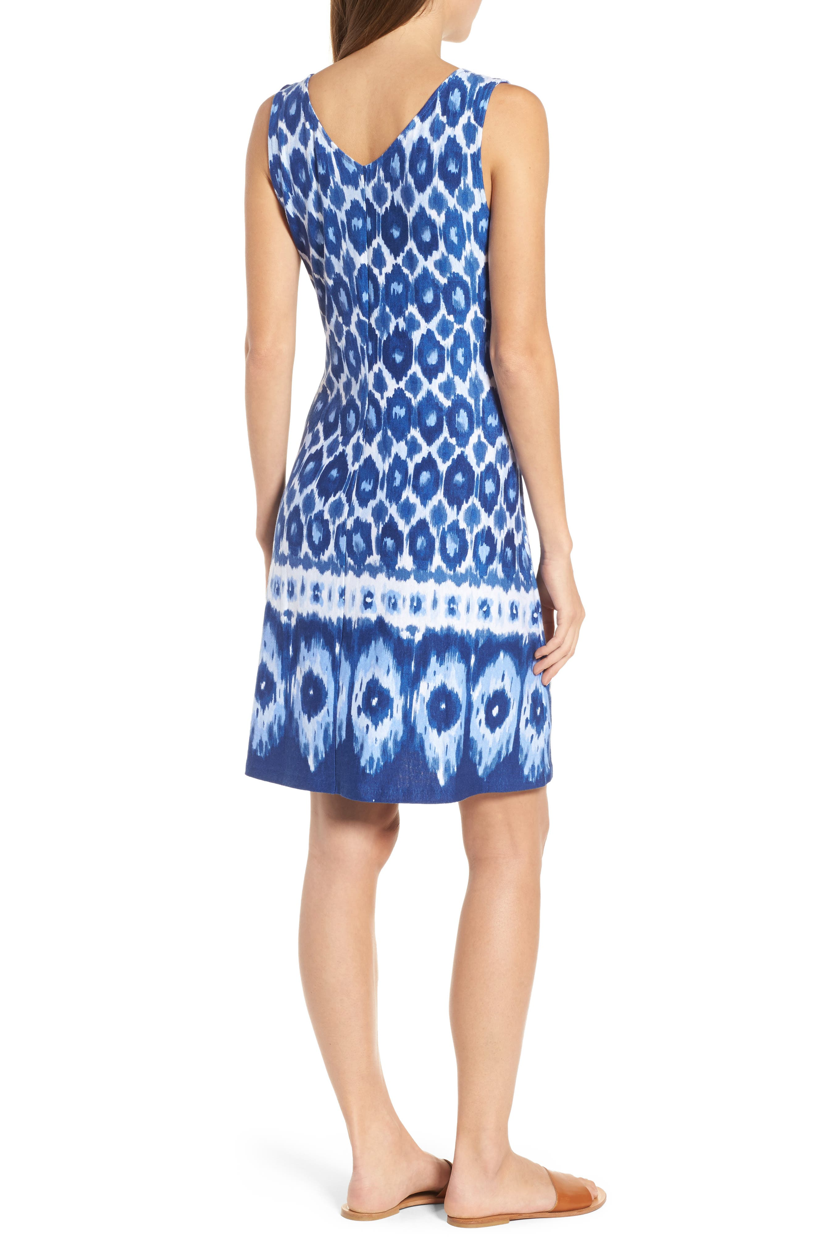Innercoastal Ikat Sleeveless Dress,                             Alternate thumbnail 2, color,                             Kingdom Blue