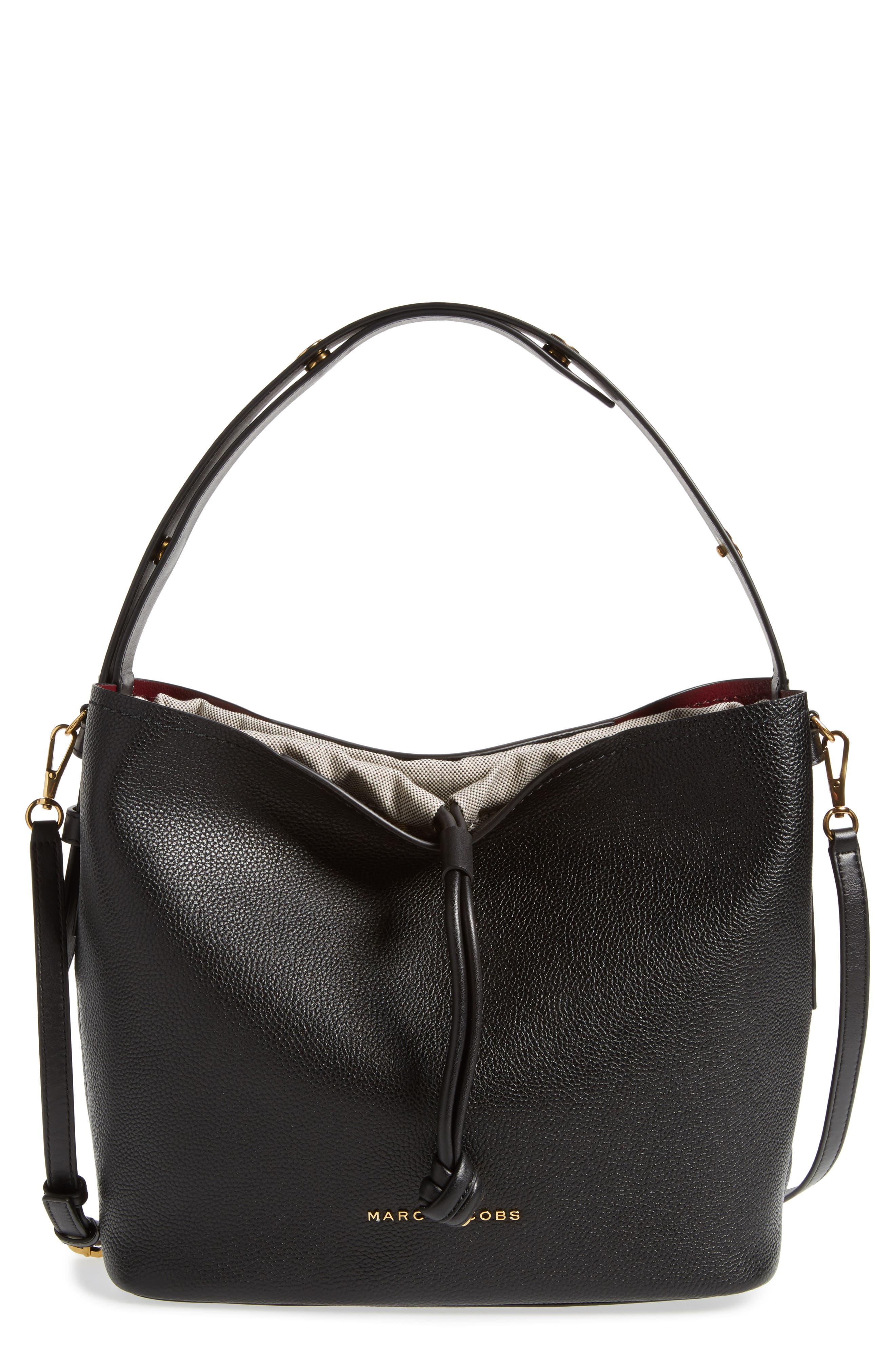 Road Leather Hobo,                         Main,                         color, Black