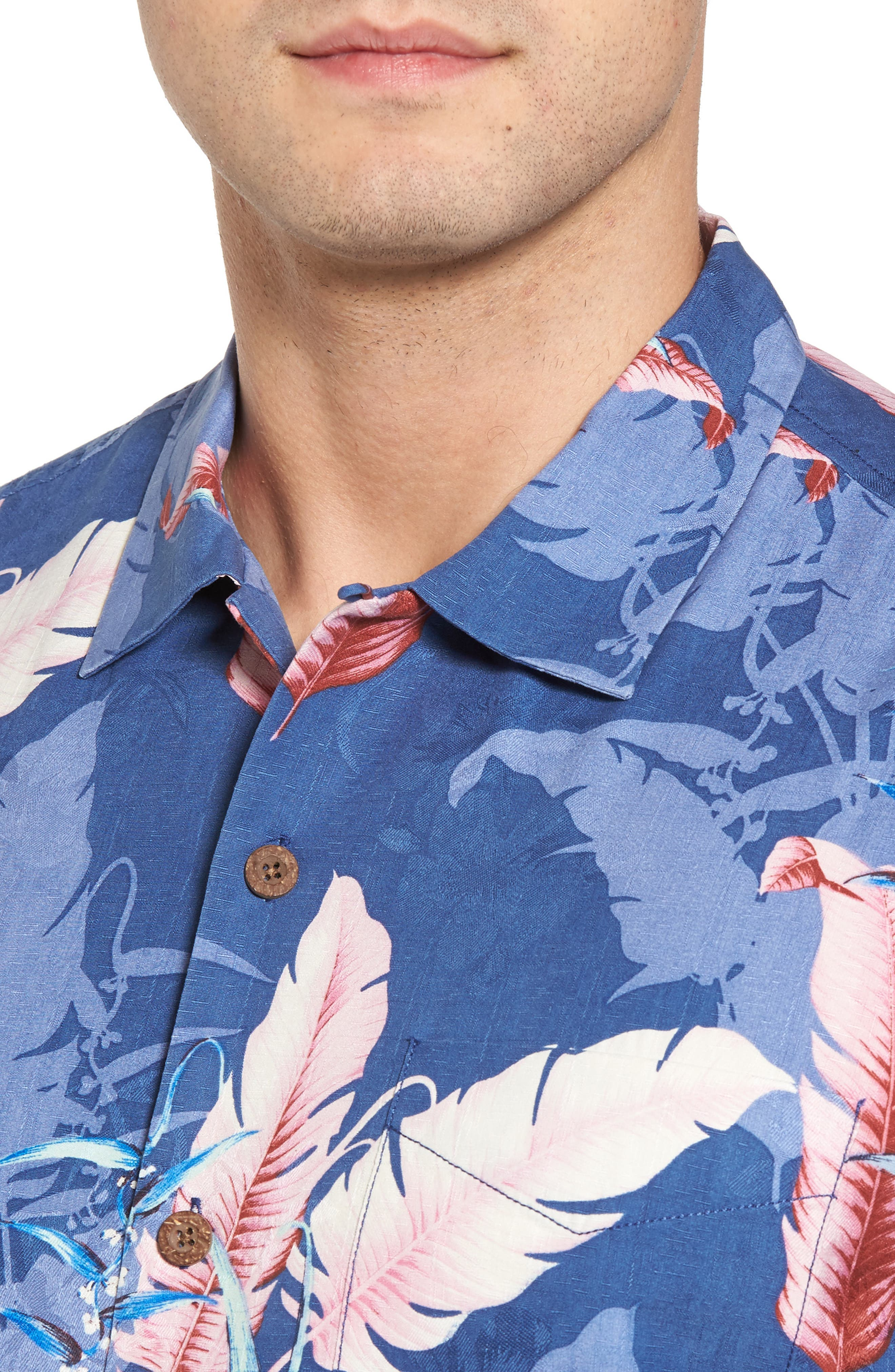 Shadow Fronds Silk Camp Shirt,                             Alternate thumbnail 4, color,                             Dockside Blue
