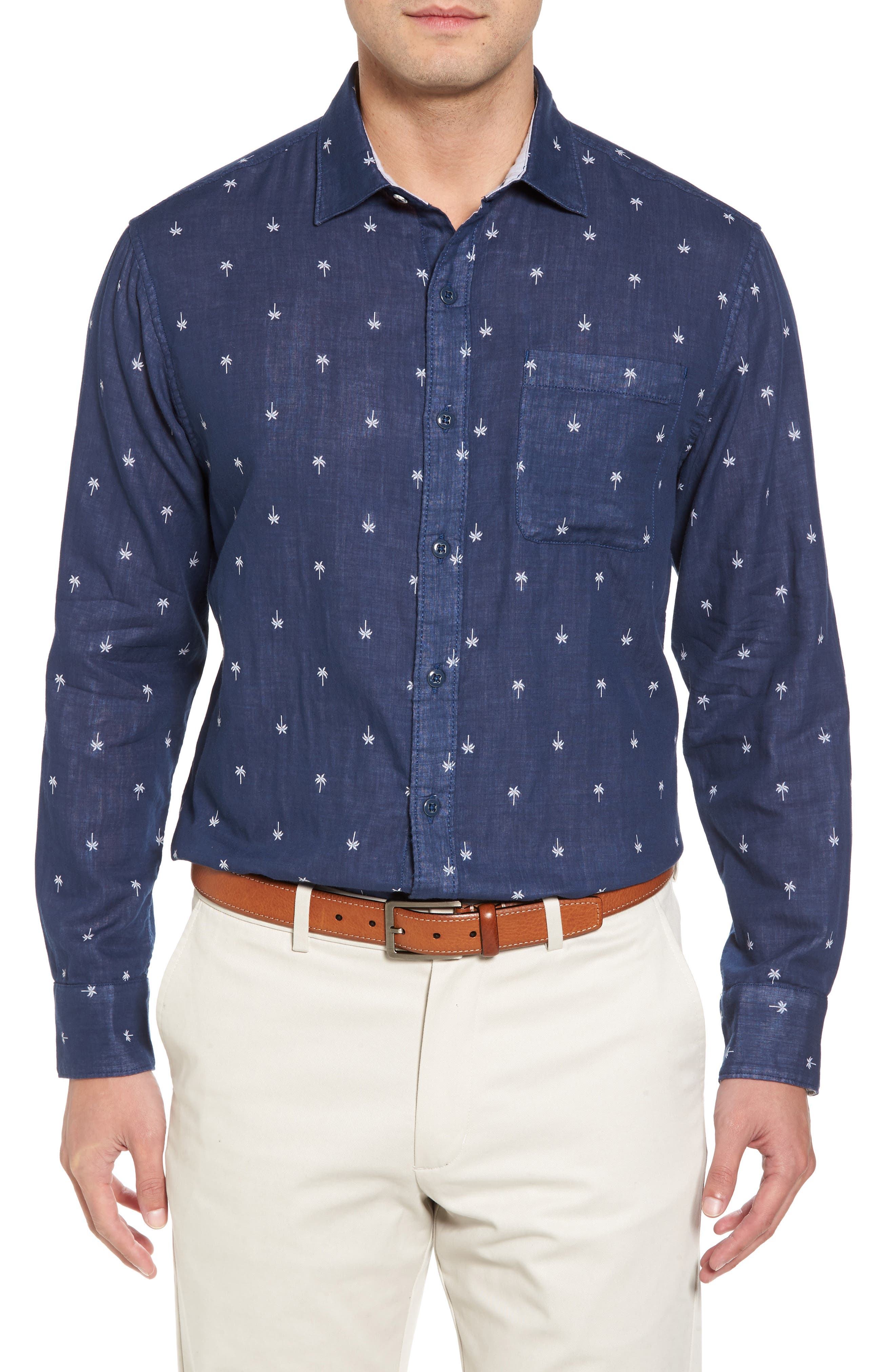 Twin Palms Embroidered Cotton Sport Shirt,                         Main,                         color, Throne Blue