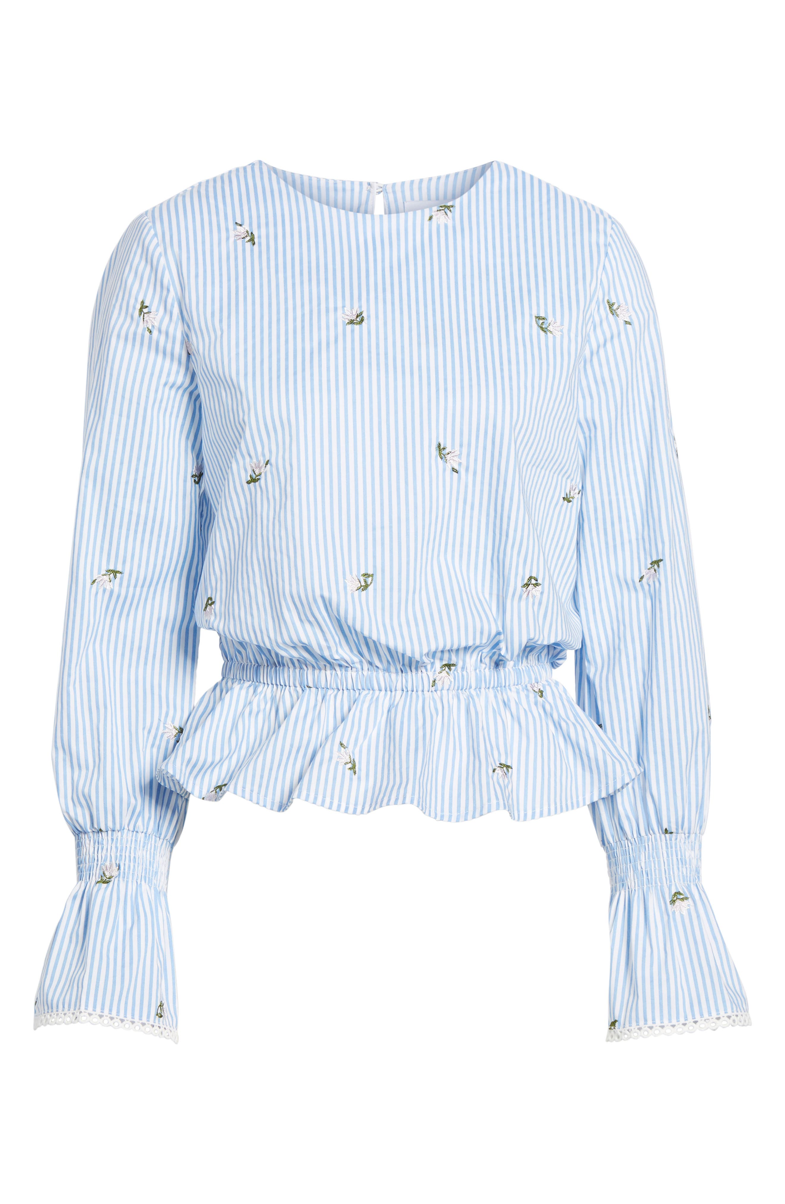 Embroidered Peplum Top,                             Alternate thumbnail 6, color,                             Blue/ Ivory Stripe