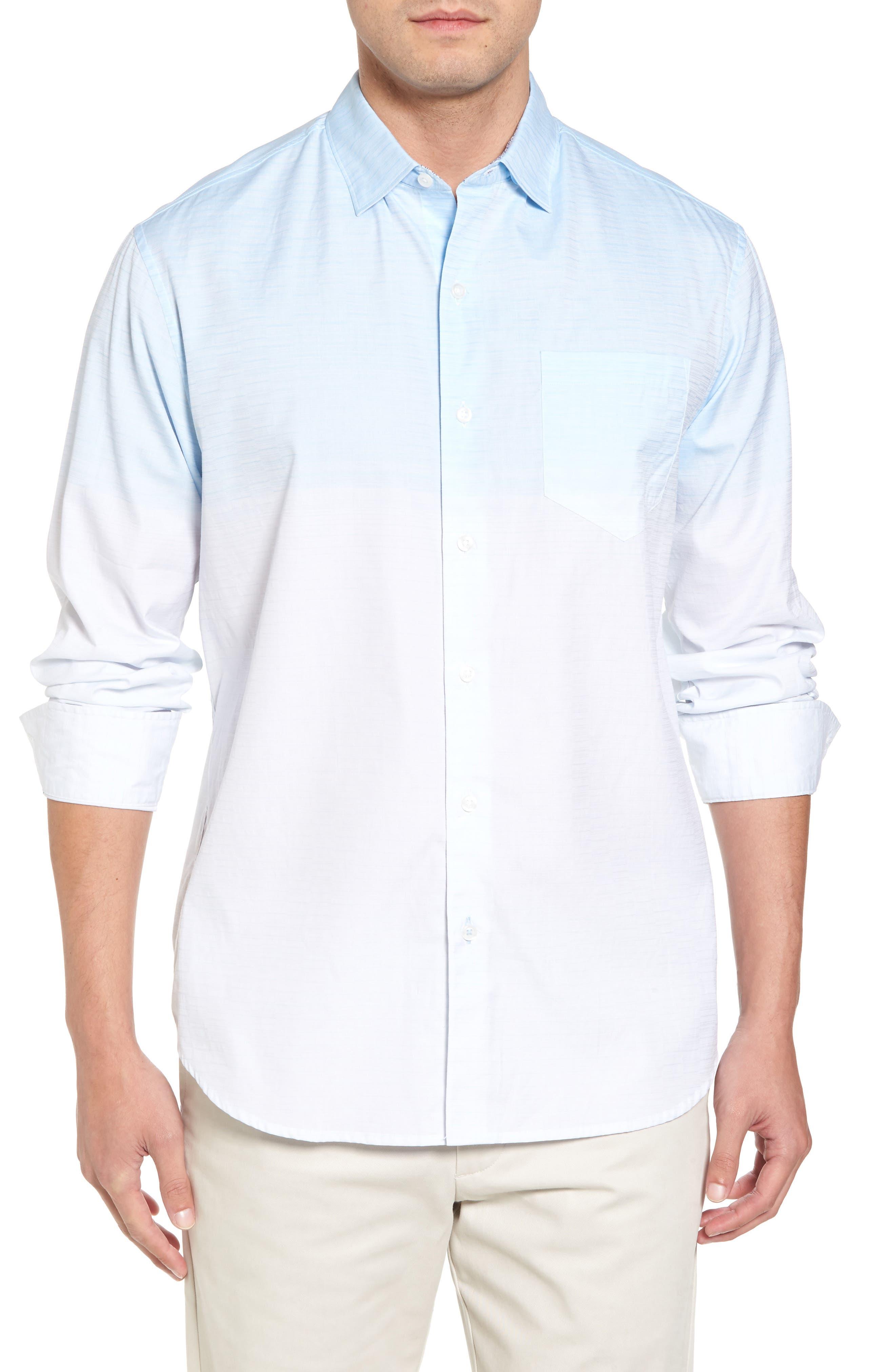 Palm Bay Ombré Sport Shirt,                         Main,                         color, Opal