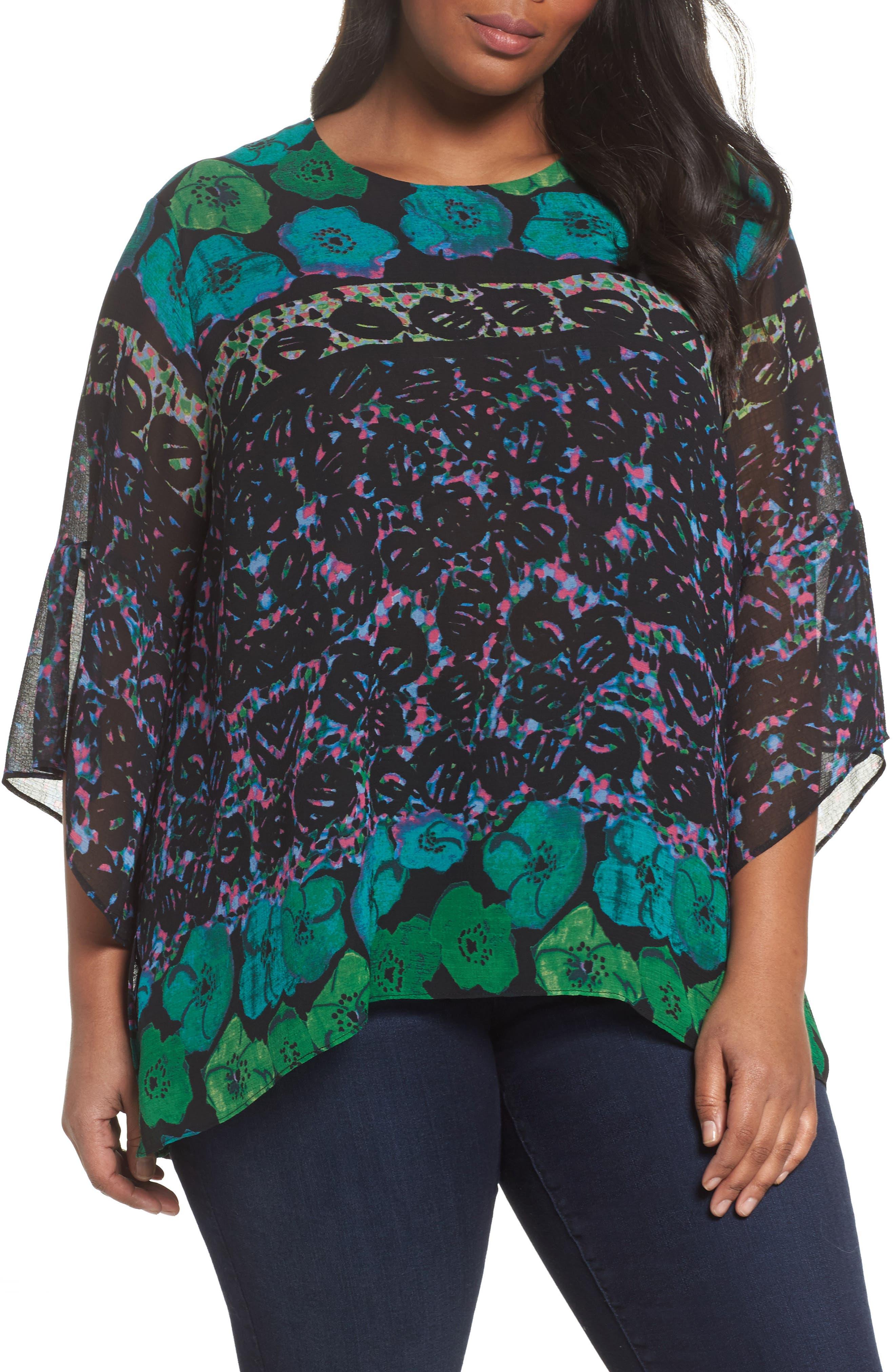 Print Bell Sleeve Blouse,                         Main,                         color, Rainforest Green Combo