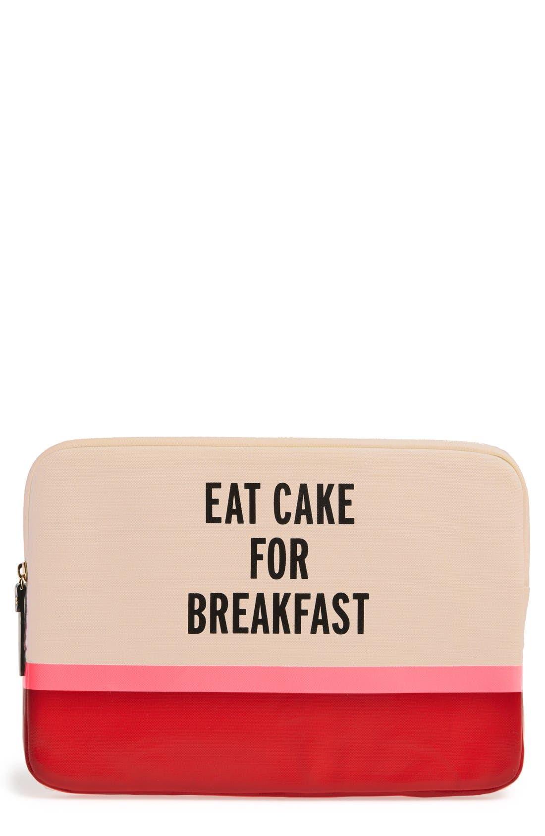 Alternate Image 1 Selected - kate spade new york 'eat cake for breakfast' laptop sleeve (13 Inch)