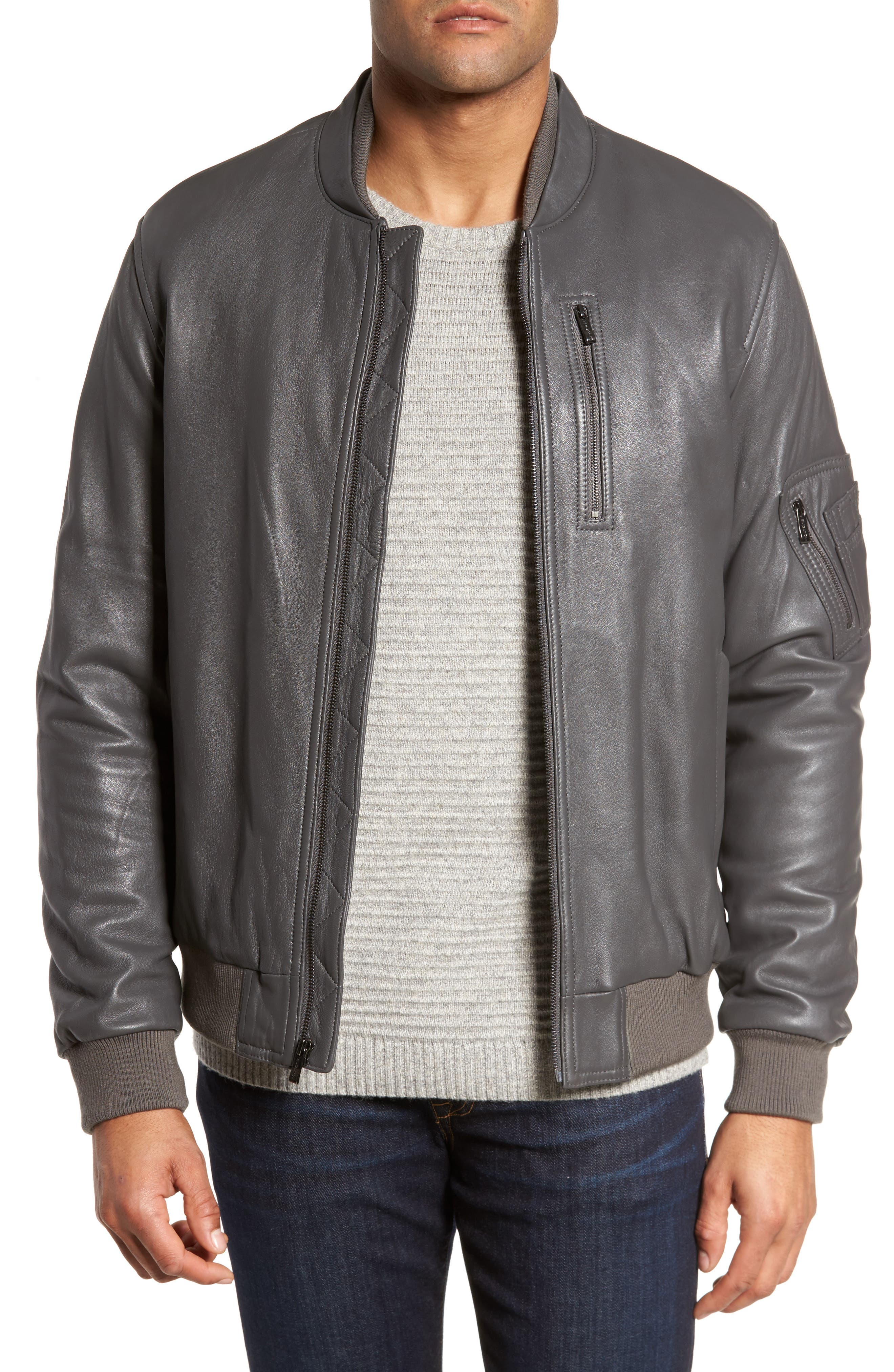 Leather Bomber Jacket,                         Main,                         color, Graphite