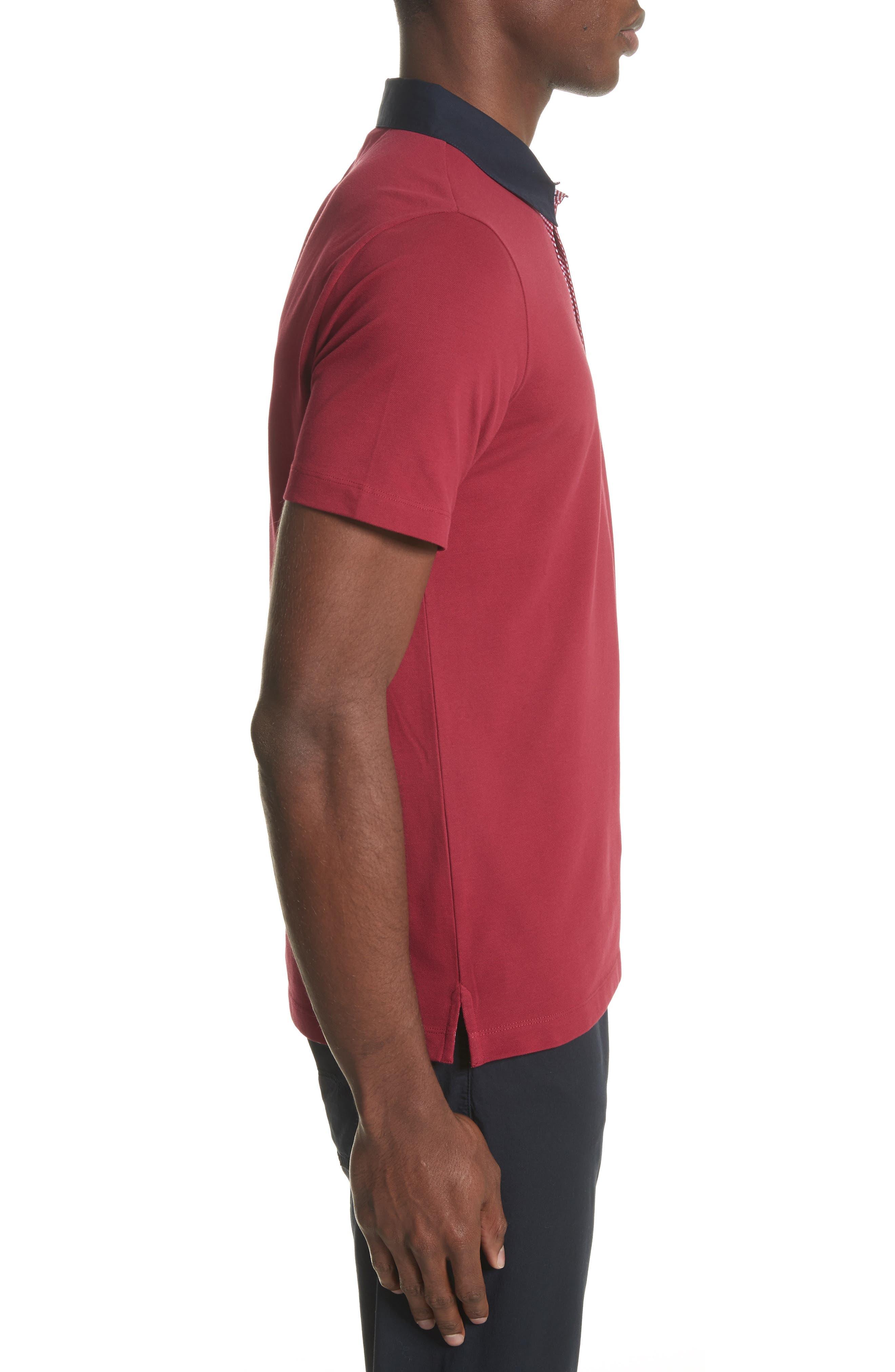Slim Fit Piqué Polo Shirt,                             Alternate thumbnail 3, color,                             Borgogna