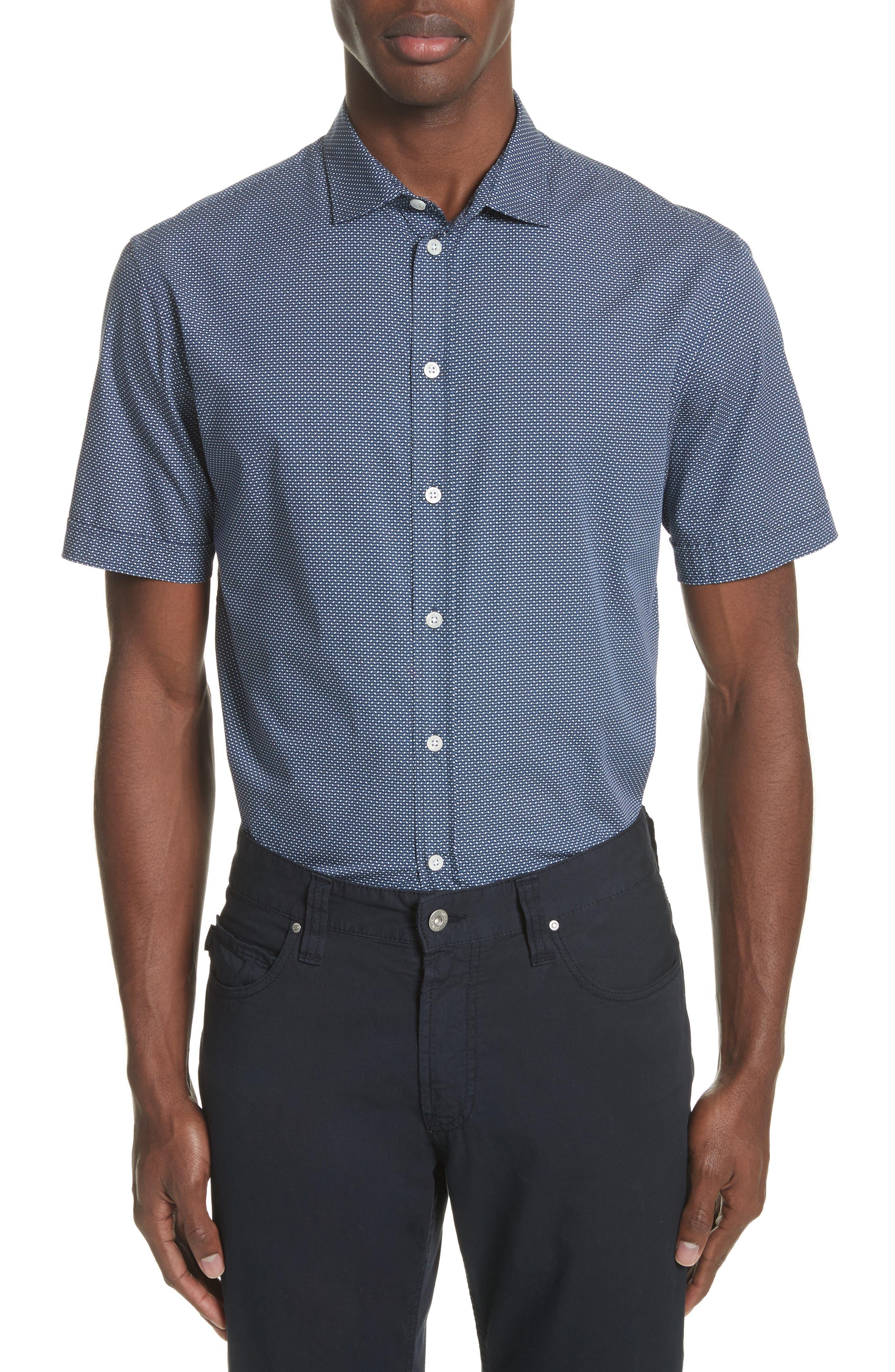 Emporio Armani Regular Fit Geometric Print Sport Shirt