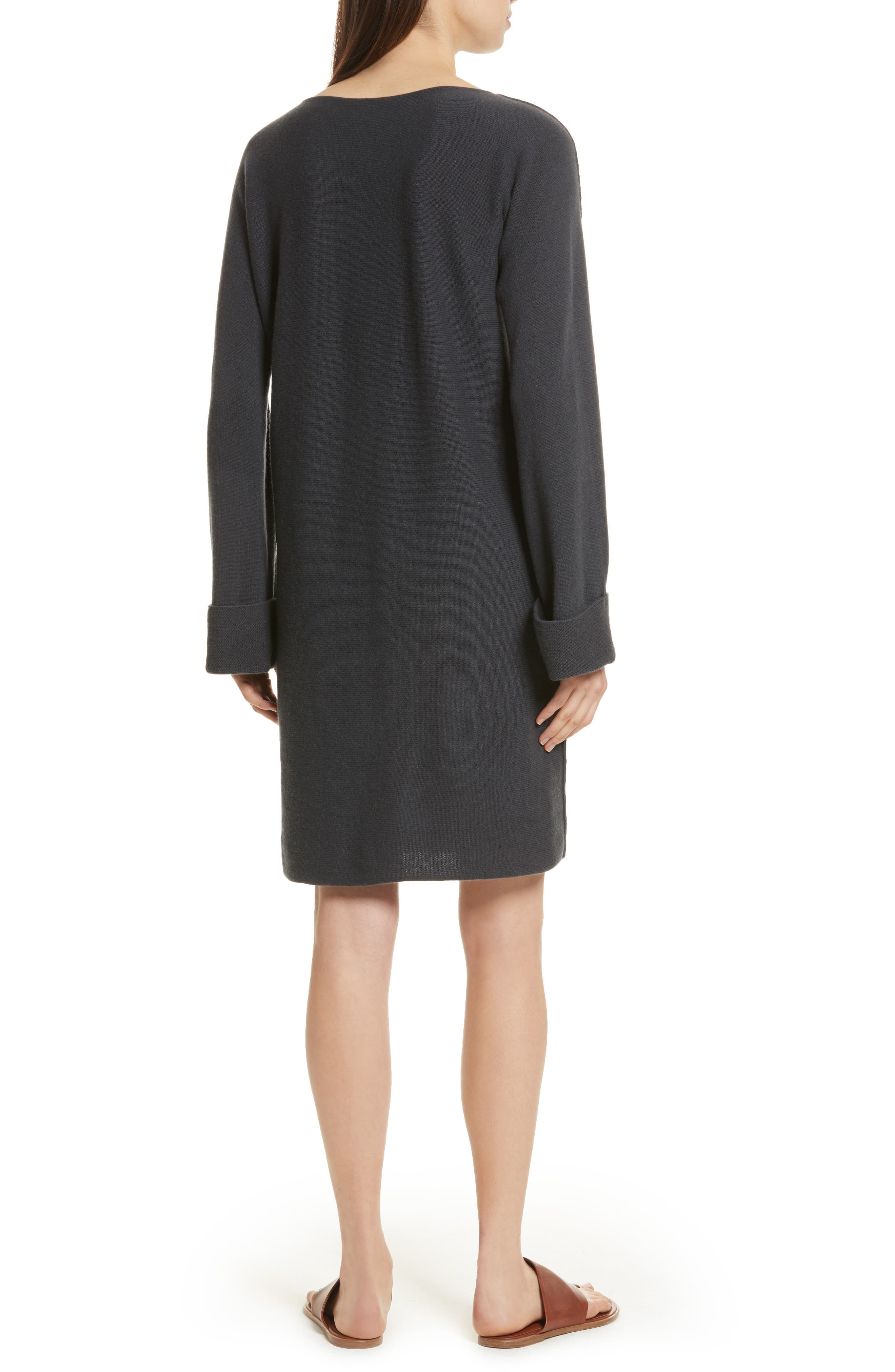 Twisted Seam Wool & Cashmere Sweater Dress,                             Alternate thumbnail 2, color,                             Slate